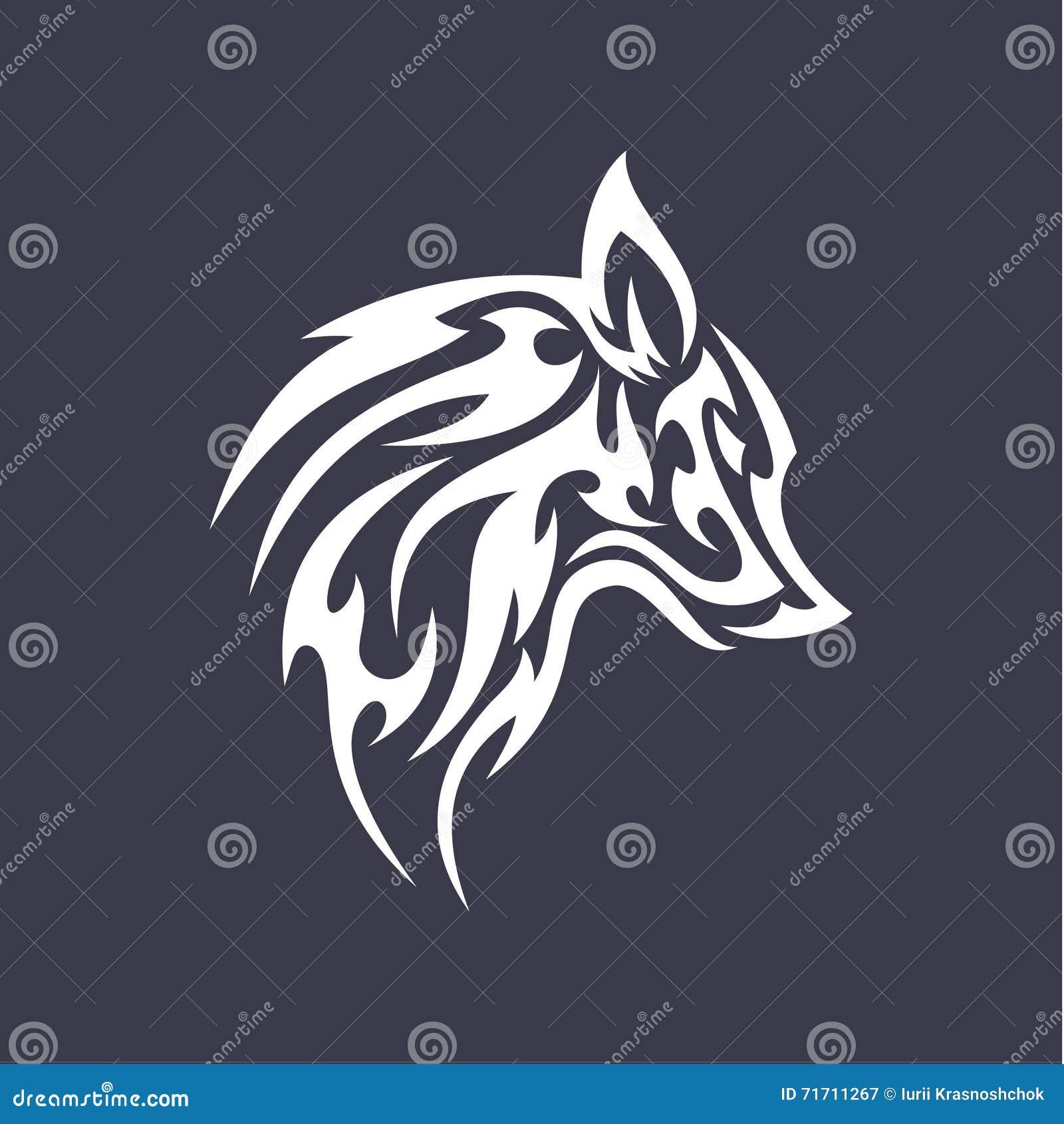Wolf flat tattoo style logo design vector smoother for Tattoo style logo design