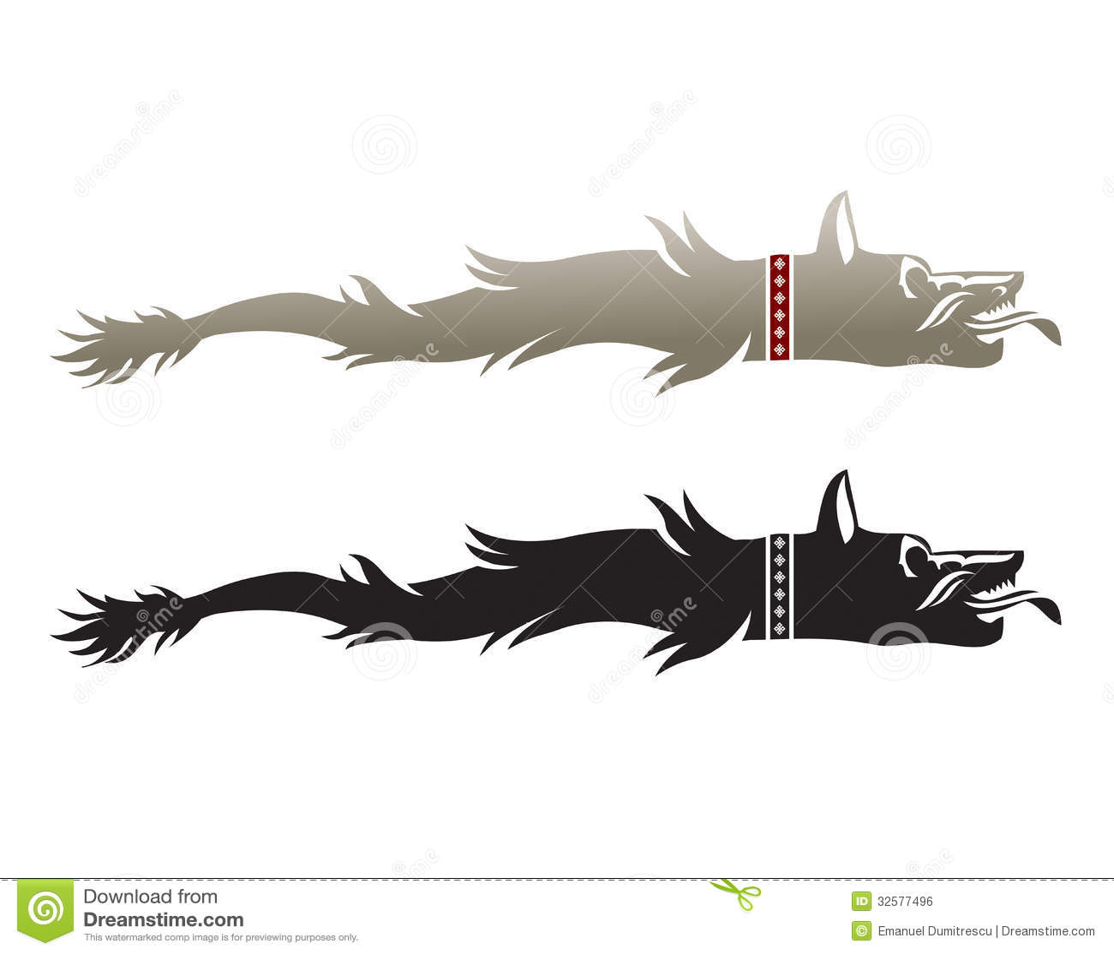 Wolf Head  Ancient Dacian Flag Royalty Free Stock Image 32577496
