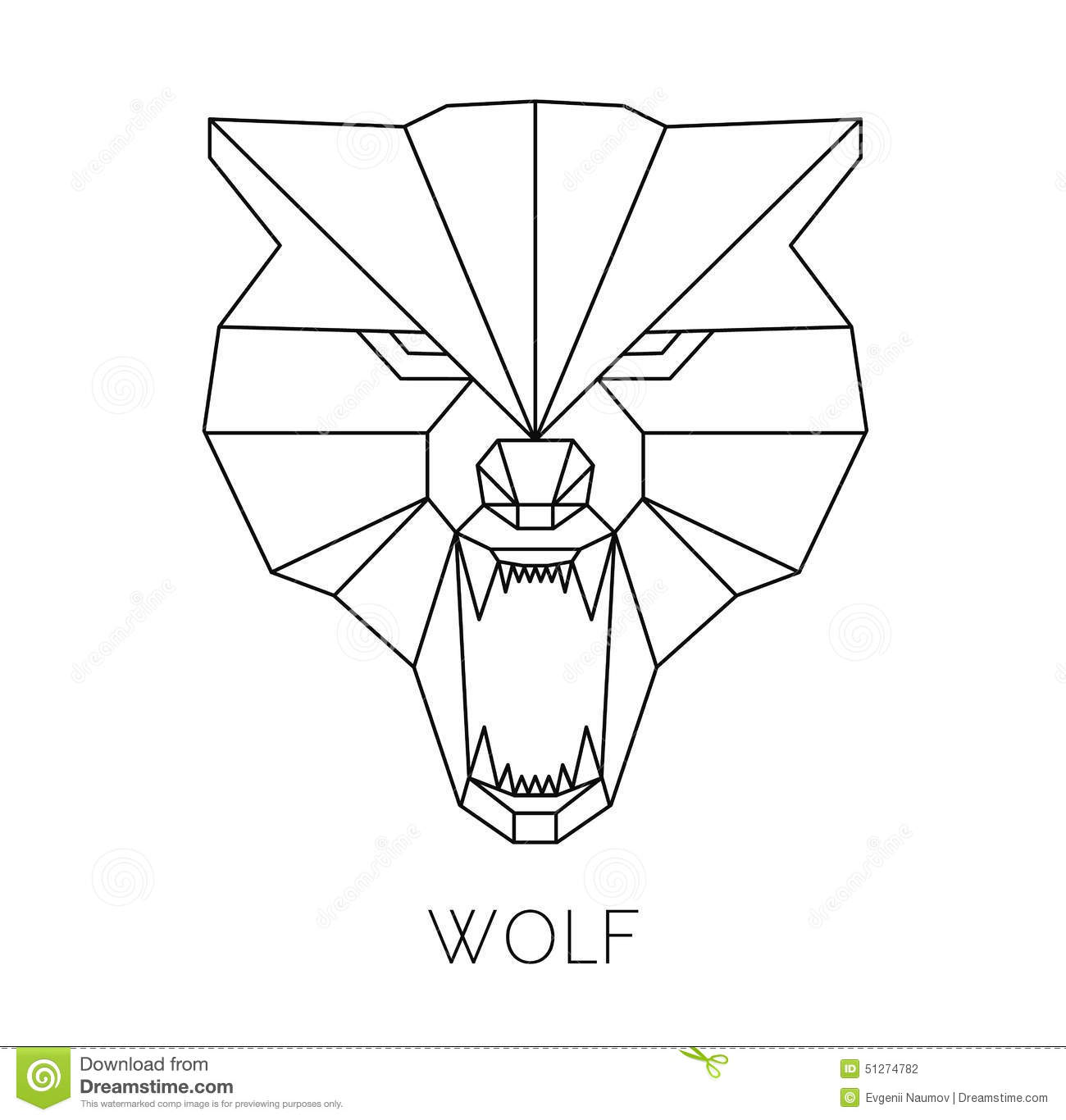 Wolf Head Geometric Style. Vector Print T-shirt Stock ...