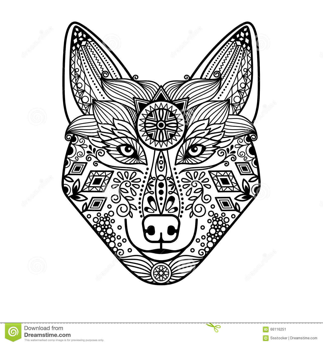 Wolf Head With Hand Drawn Ornament Stock Vector Image