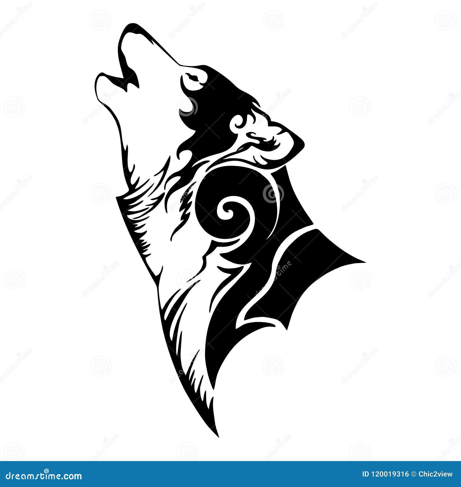 Wolf Head And Howl Tribal Tattoo Stock Illustration Illustration