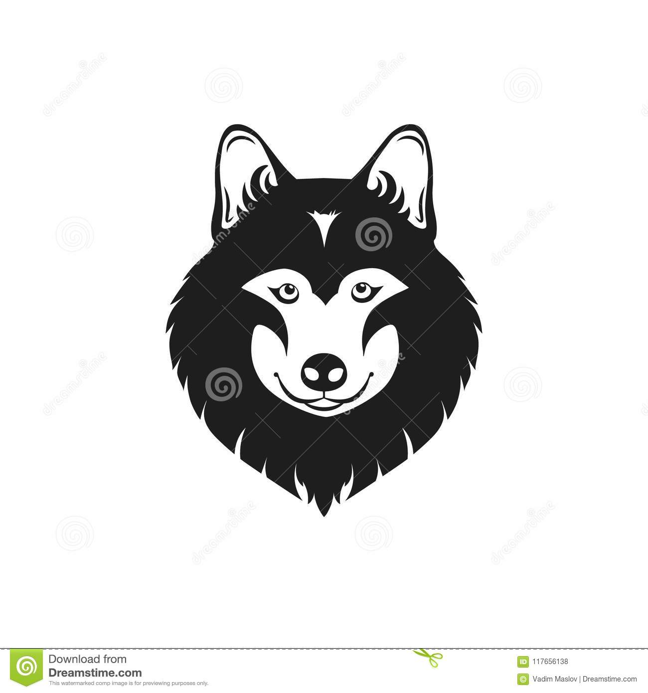 wolf head icon isolated on white background template for your