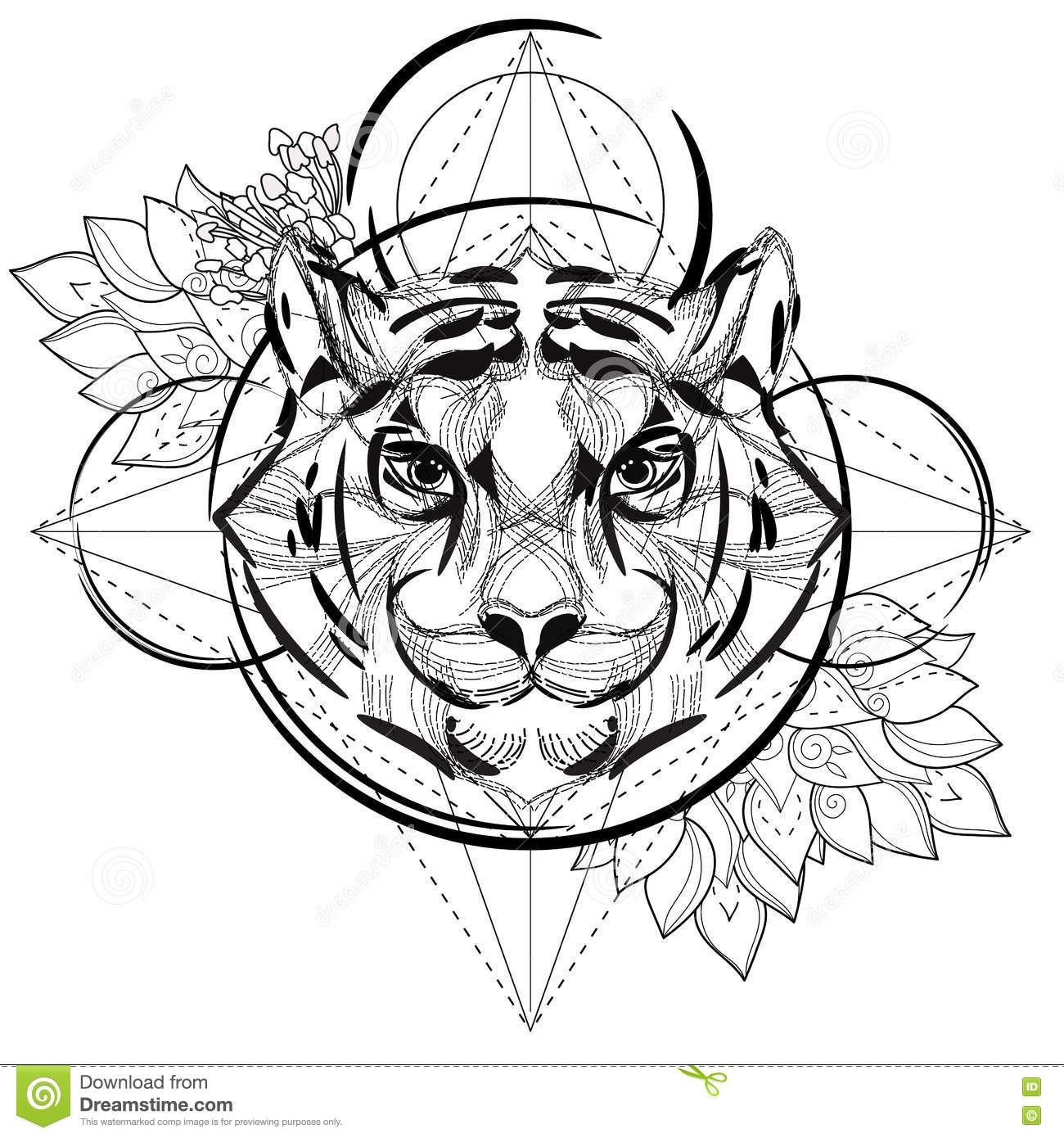 Tiger head triangular icon geometric trendy stock vector image - Royalty Free Vector Animal Coloring Design Geometric Head Icon Illustration Low Poly Tattoo Tiger Trendy Triangular