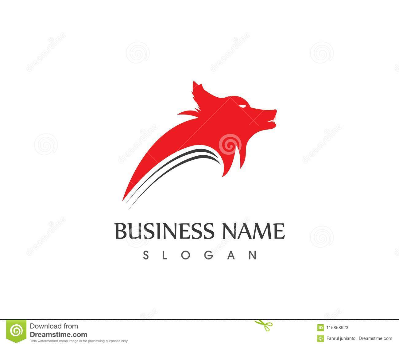 wolf head silhouette logo design vector template stock vector