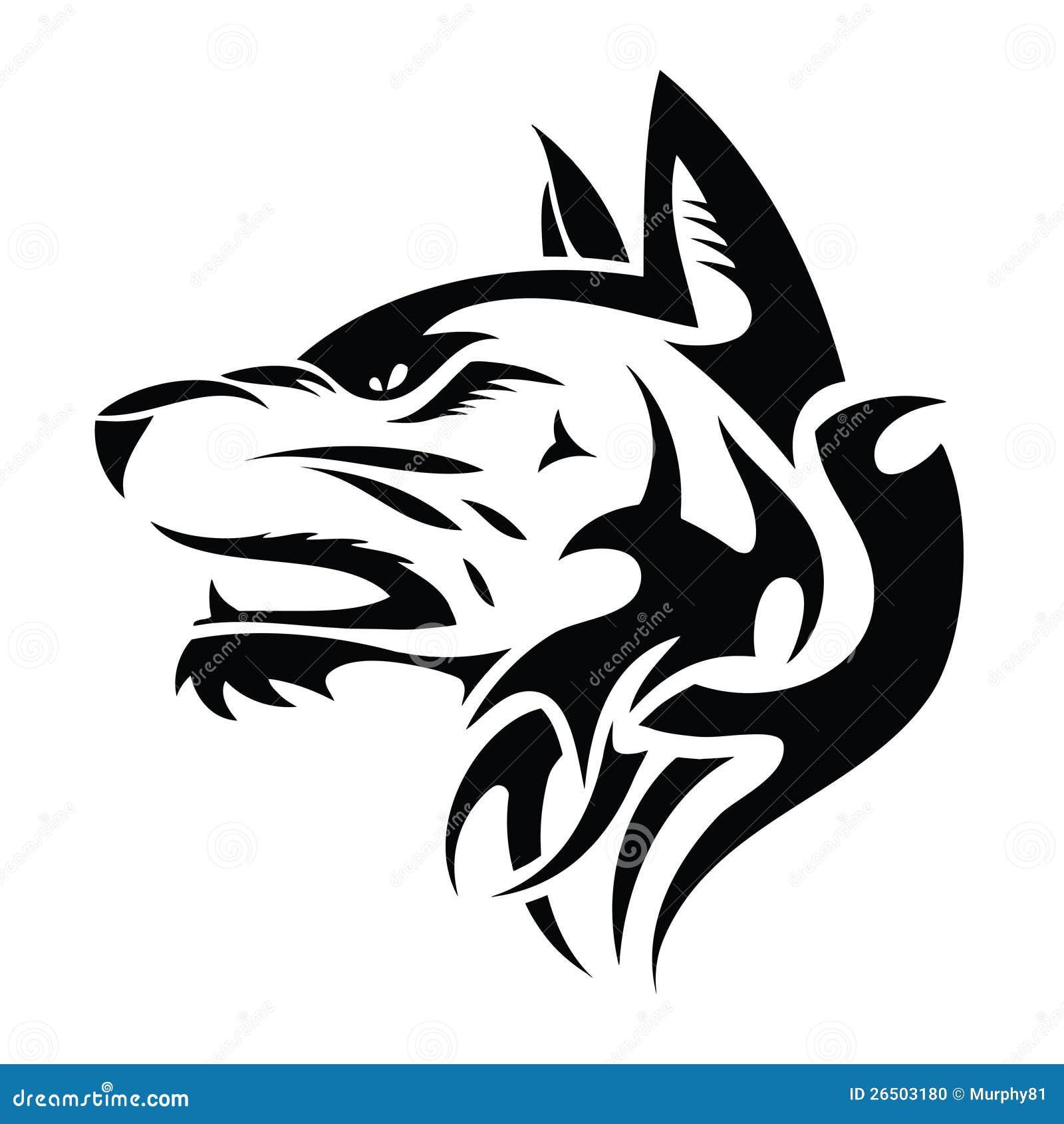 Wolf Head Tribal Tattoo Stock Photo Image 26503180