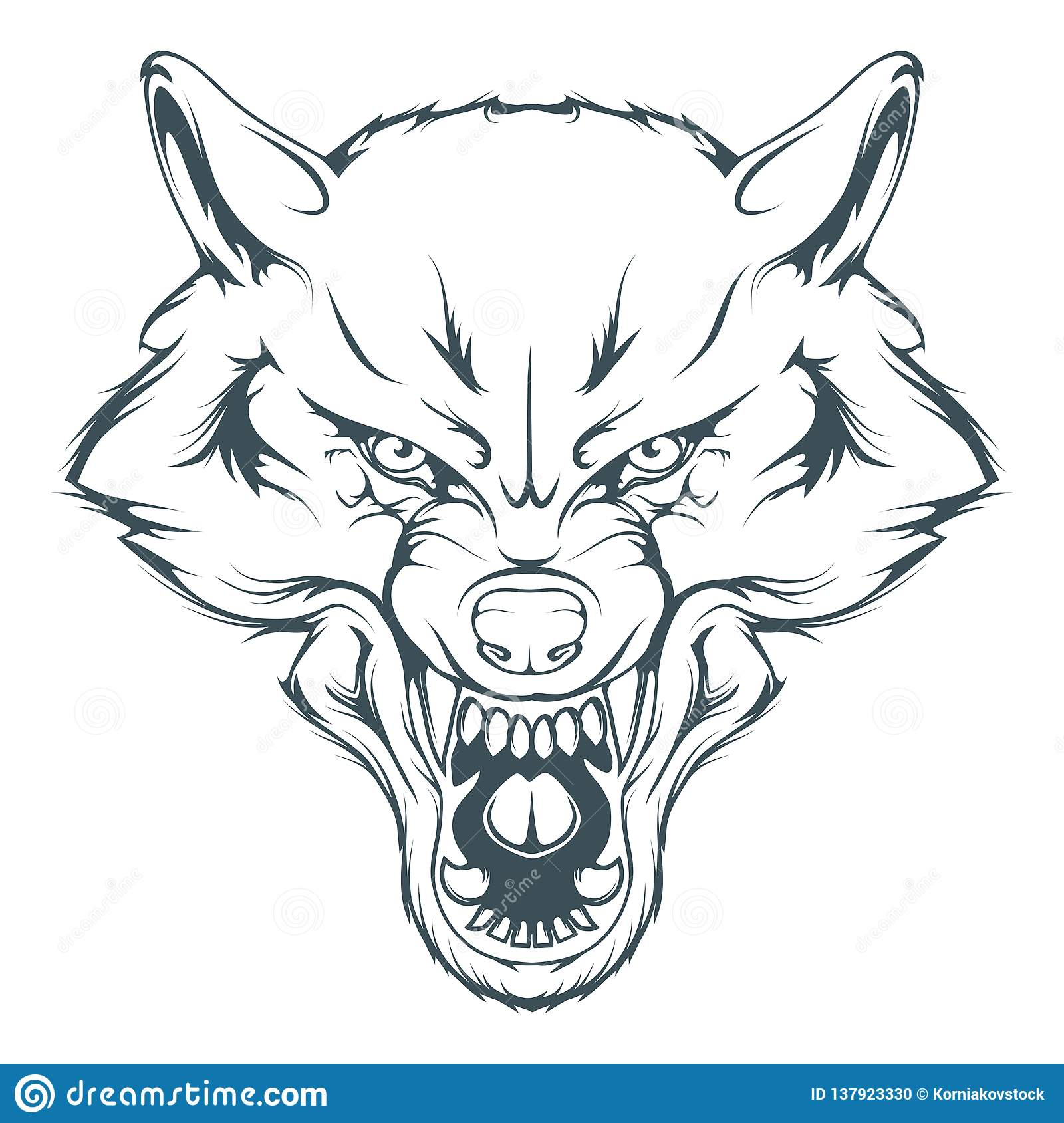 Wolf head vector drawing wolf face drawing sketch wolf head in black and white