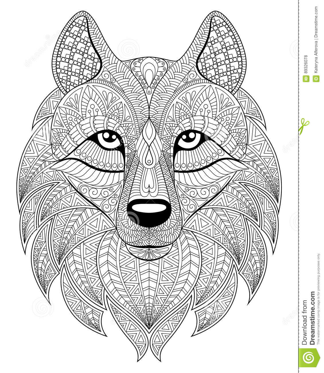 wolf head in zentangle style antistress coloring page stock
