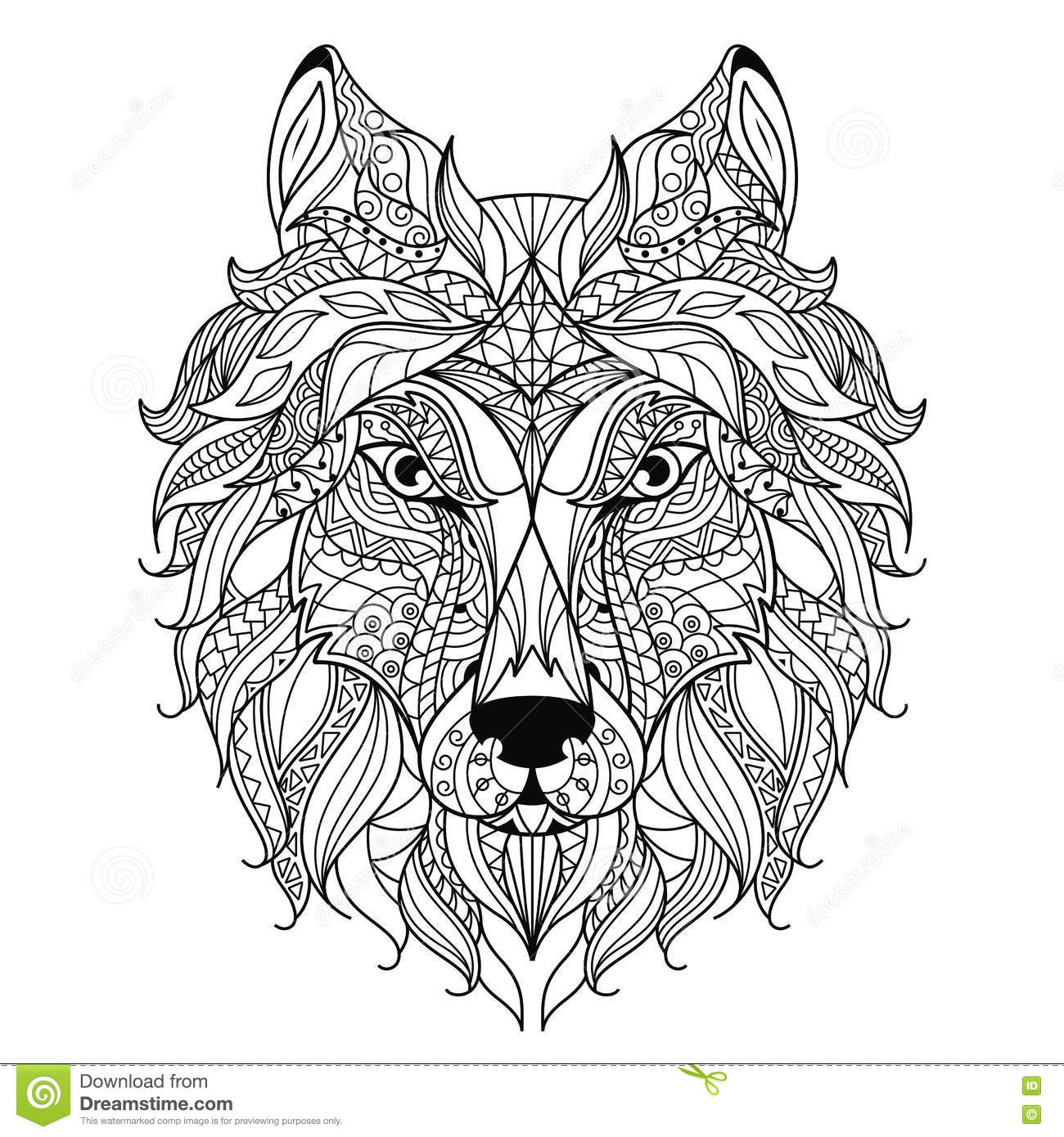 Wolf Head Zentangle Stylized Coloring Page Stock Vector