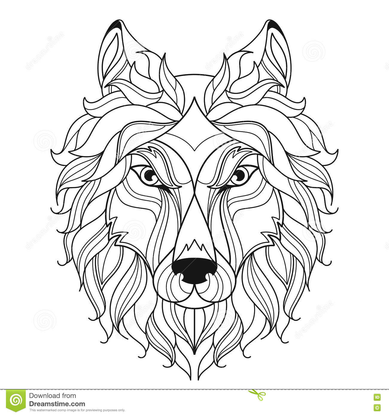 Coloring pages for adults wolf - Wolf Head Zentangle Stylized Coloring Page Royalty Free Stock Photos
