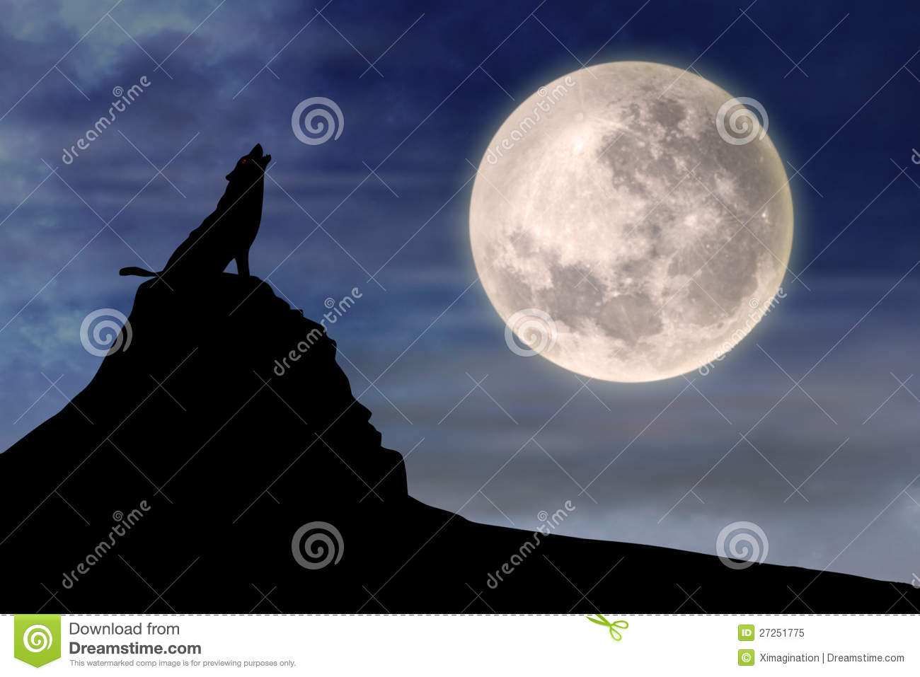 Wolf Howling Full Moon Royalty Free Stock Photo Image