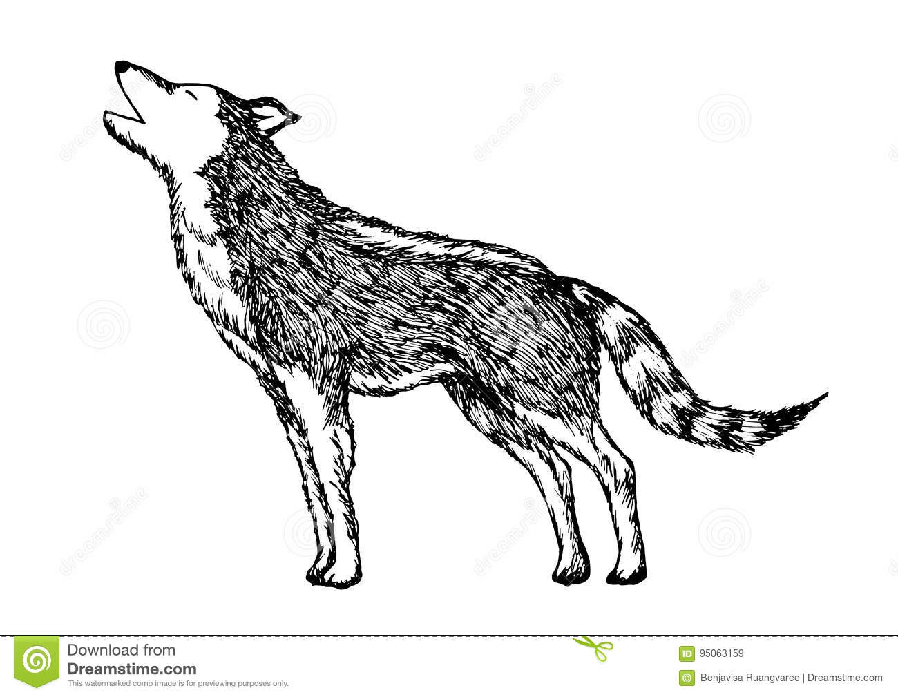 Wolf Howling Hand Drawing Vector Illustration Design Stock Vector