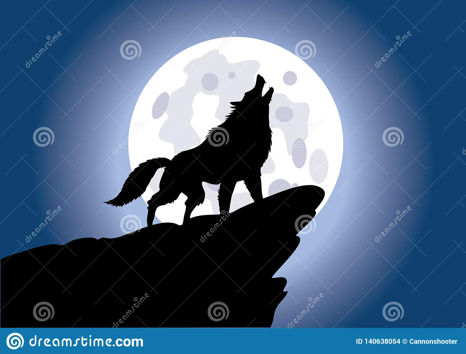 Wolf Howling On The Moon - ejemplo del vector