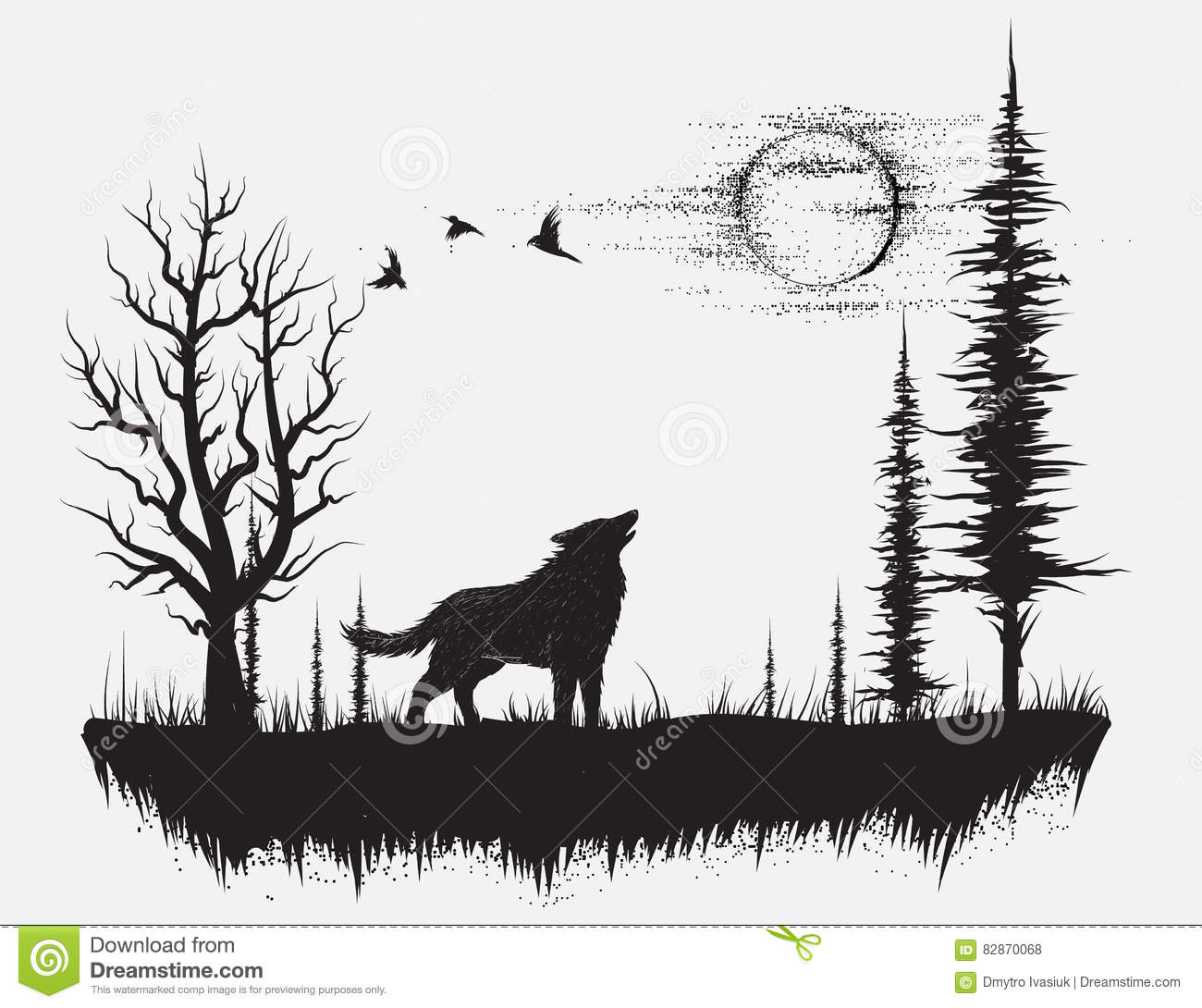 Wolf Howling At The Moon Stock Vector. Illustration Of