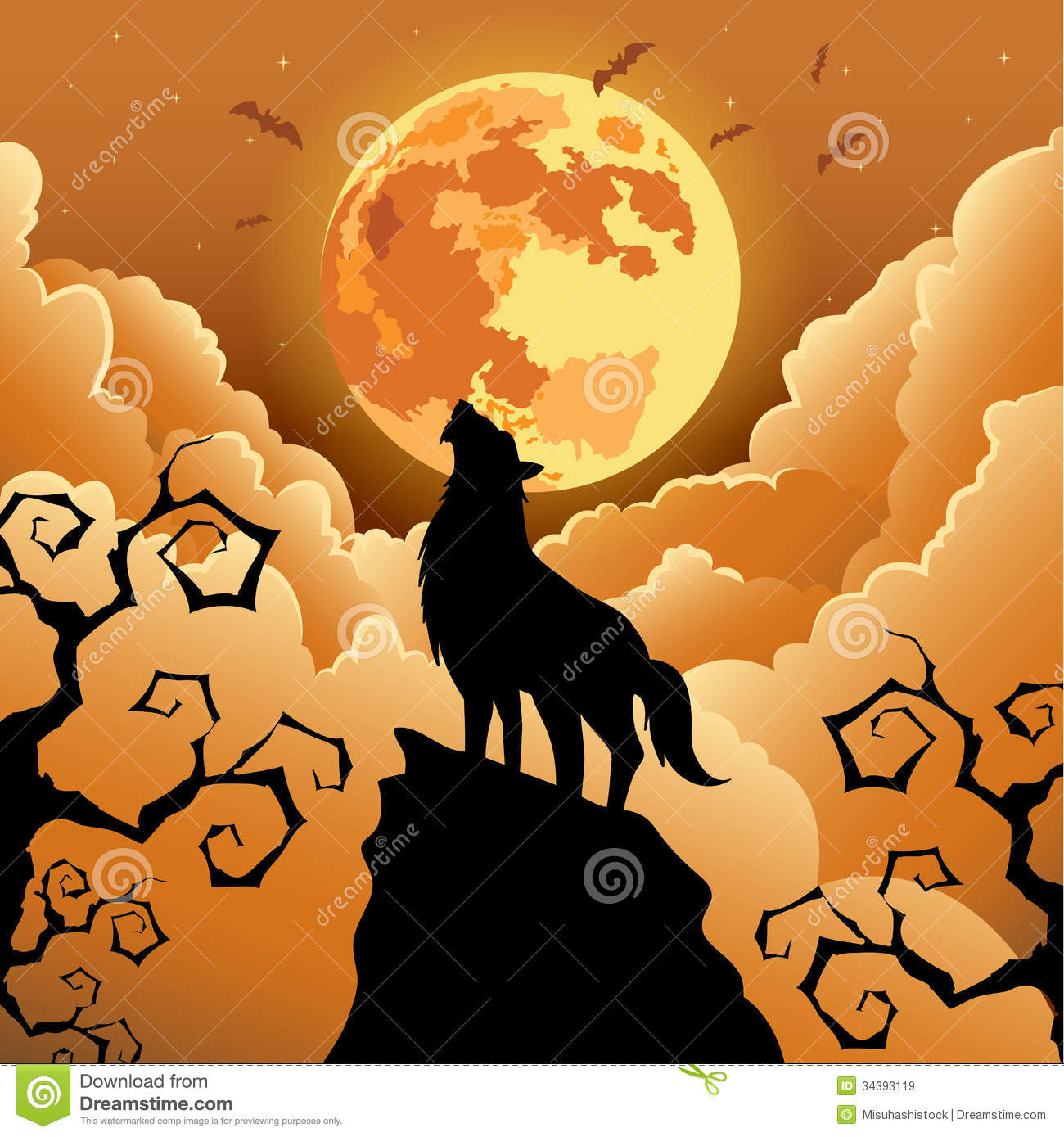 halloween howling illustration moon silhouette wolf - Wolf Halloween