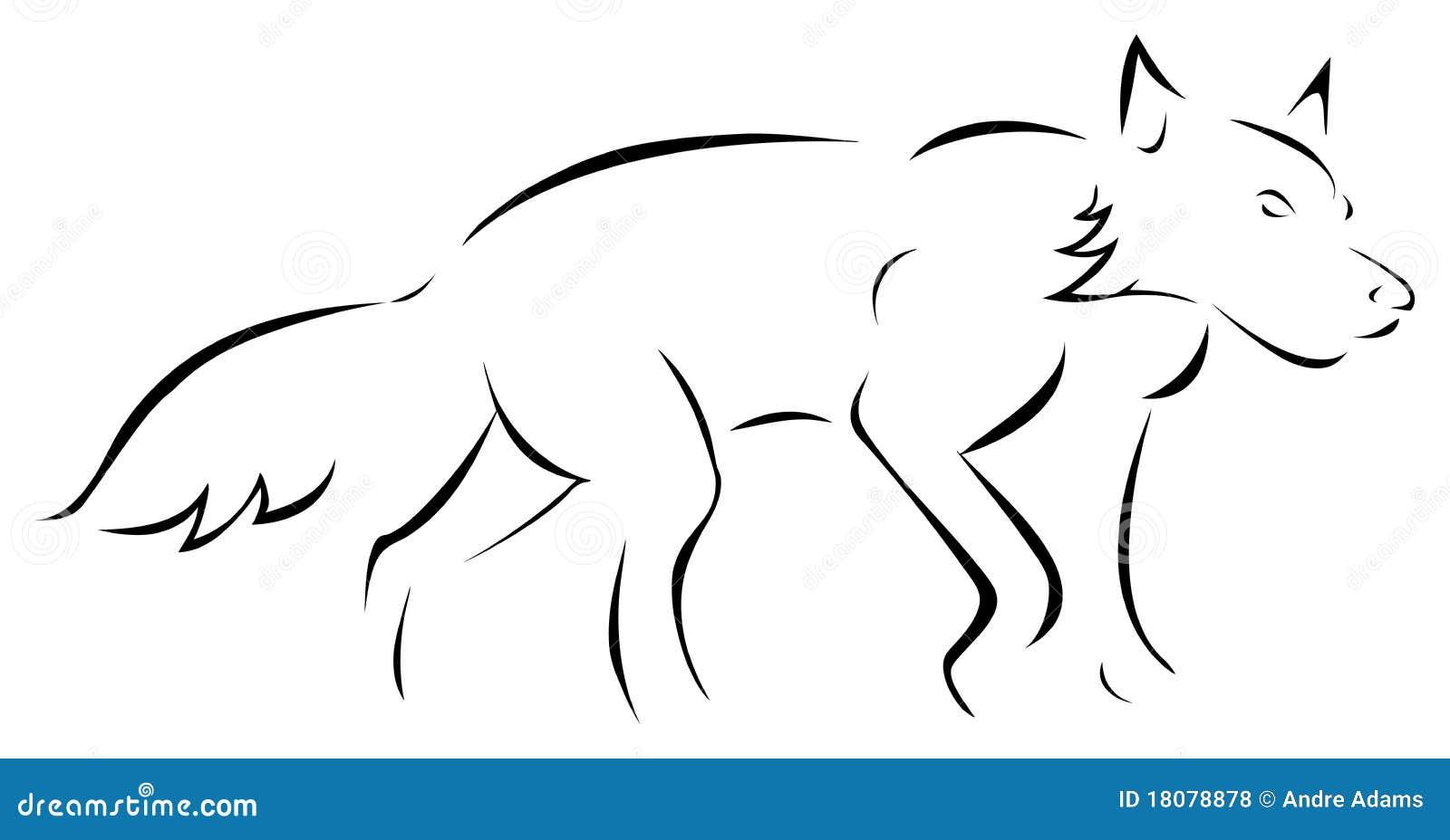 wolf outline stock vector illustration of stalking