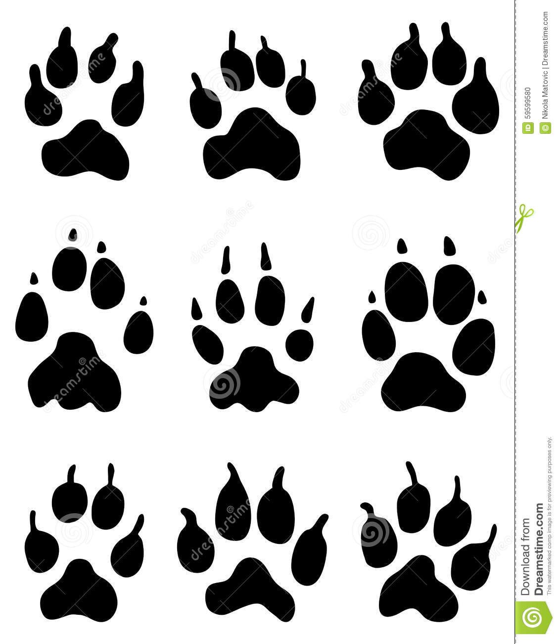 Wolf Paw Stock Illustration - Image: 59599580