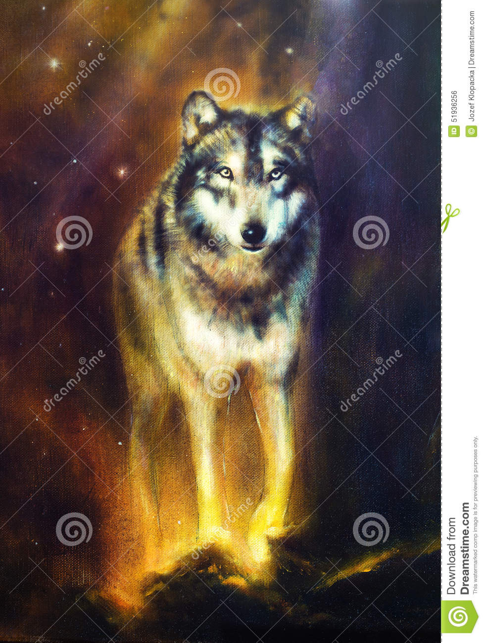 Wolf portrait, mighty cosmical wolf walking from light, beautiful detailed oil painting on canvas.