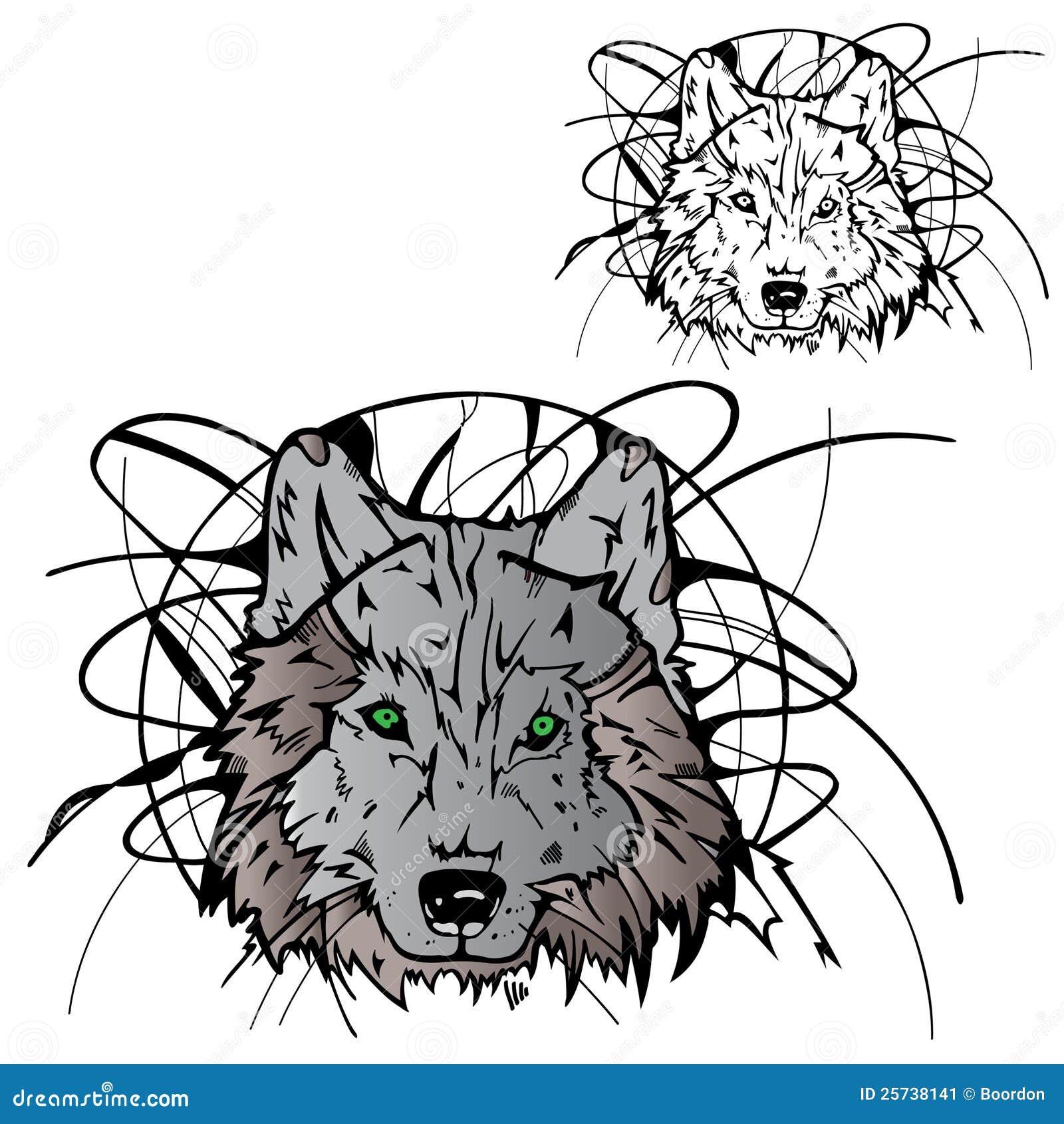 Wolf silhouette color stencil