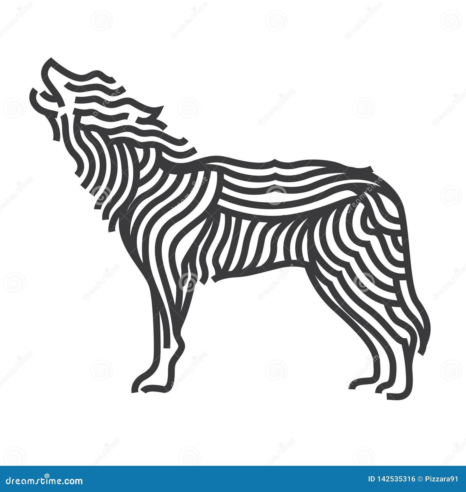 Wolf symbol art style. Line vector illustrate.