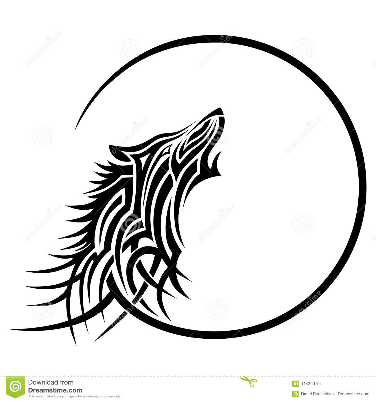 Wolf tattoo tribal design sketch stock vector for Tattoo style logo design