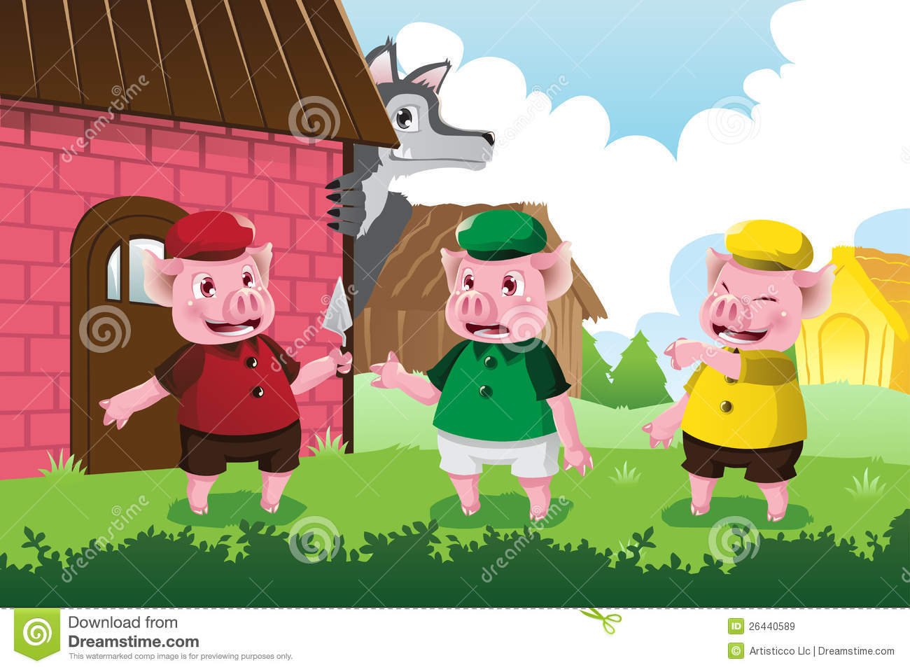 Wolf And Three Little Pigs Royalty Free Stock Images - Image: 26440589
