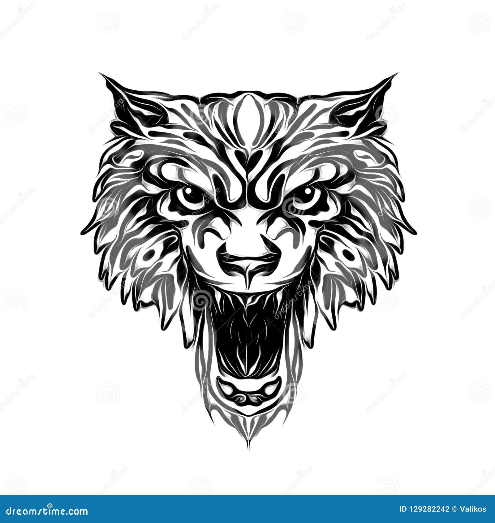 Wolf Wild Face Tattoo Stock Illustration Illustration Of Wildcat 129282242