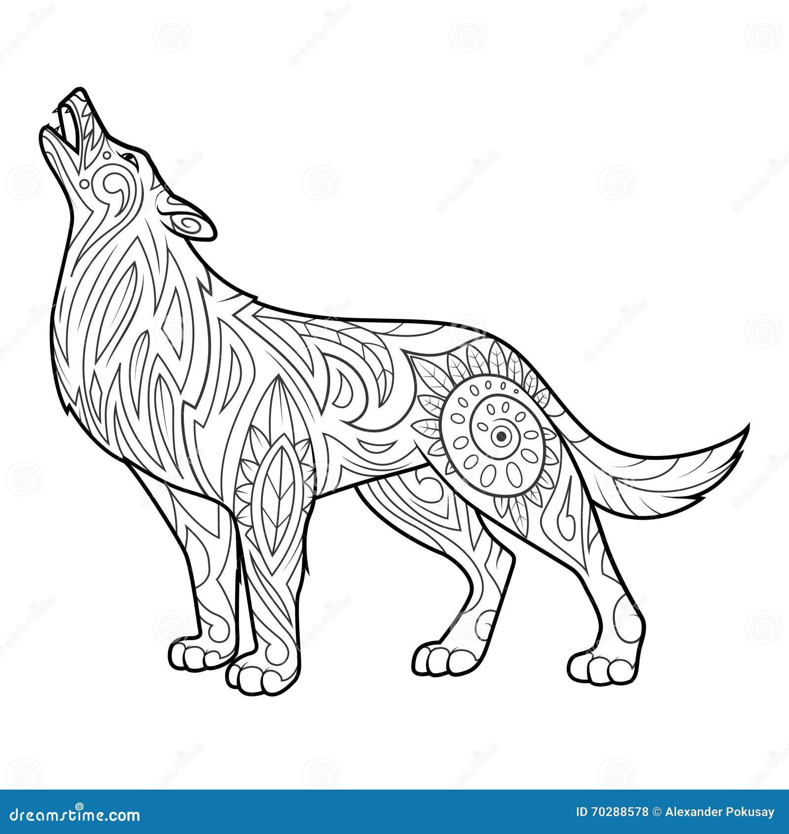 Wolfs Kleurend Boek Voor Volwassenenvector Vector