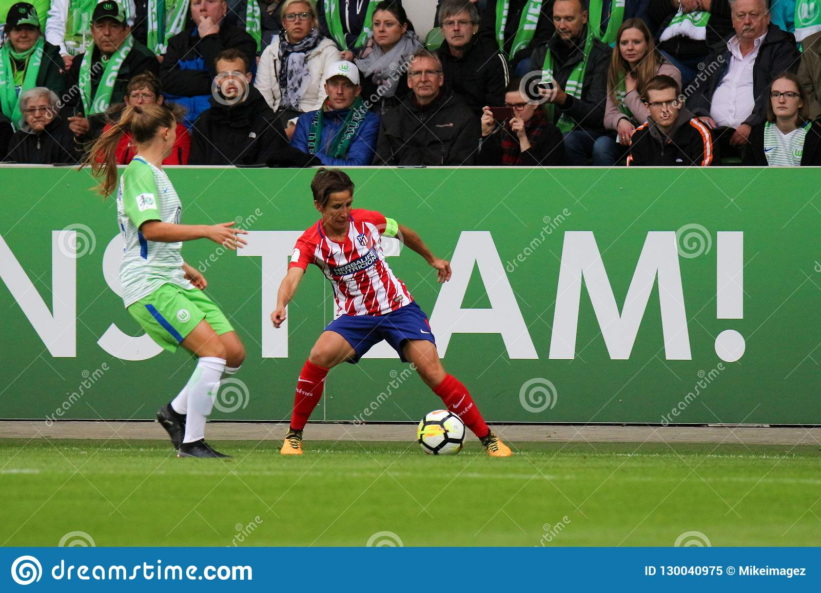 Female soccer player, Sonia Bermudez, in action during UEFA Women`s Champions League