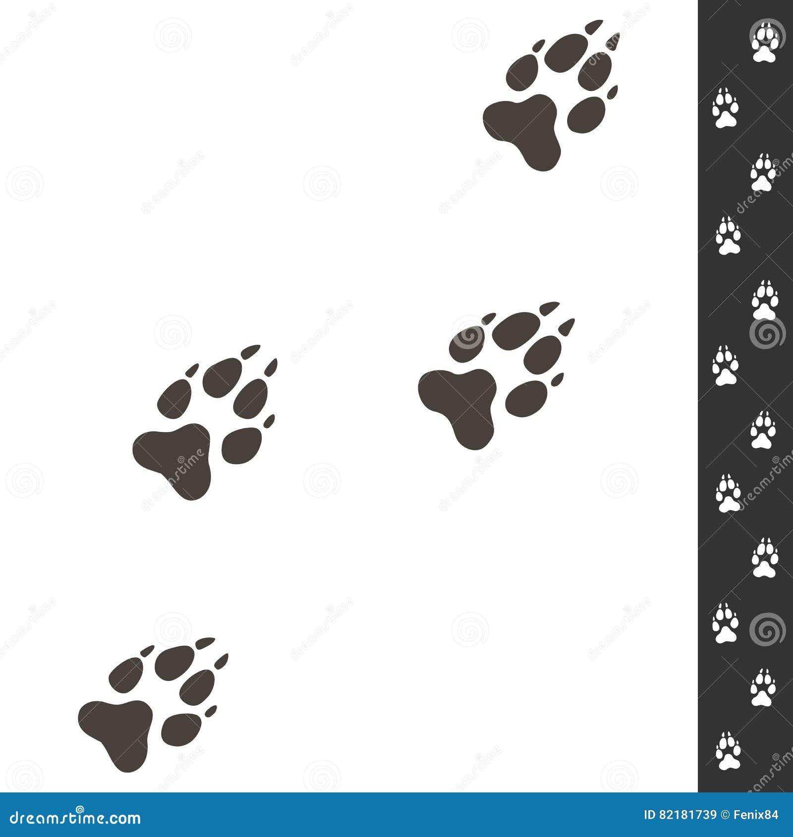 Wolfsvoetafdrukken Vectordieillustratie op wit wordt geïsoleerd wildlife