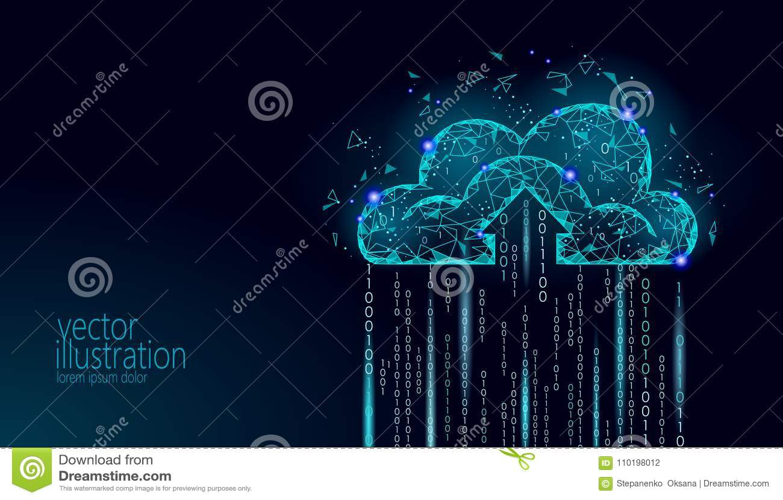Wolk die online opslag lage poly gegevens verwerken Veelhoekige toekomstige moderne Internet-bedrijfstechnologie Blauwe gloeiende
