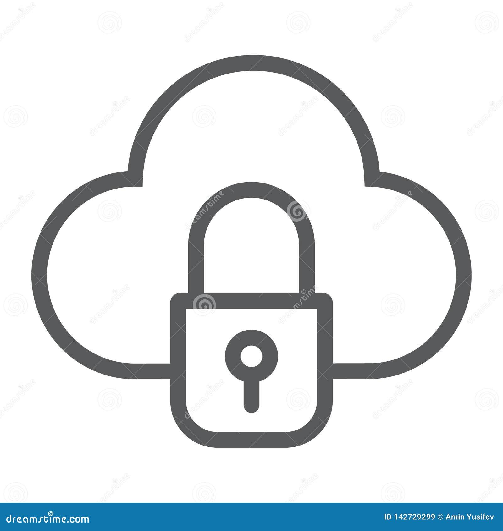 Wolk en slot het lijnpictogram, gegevens en beschermt, betrekt veiligheidsteken, vectorafbeeldingen, een lineair patroon op een w