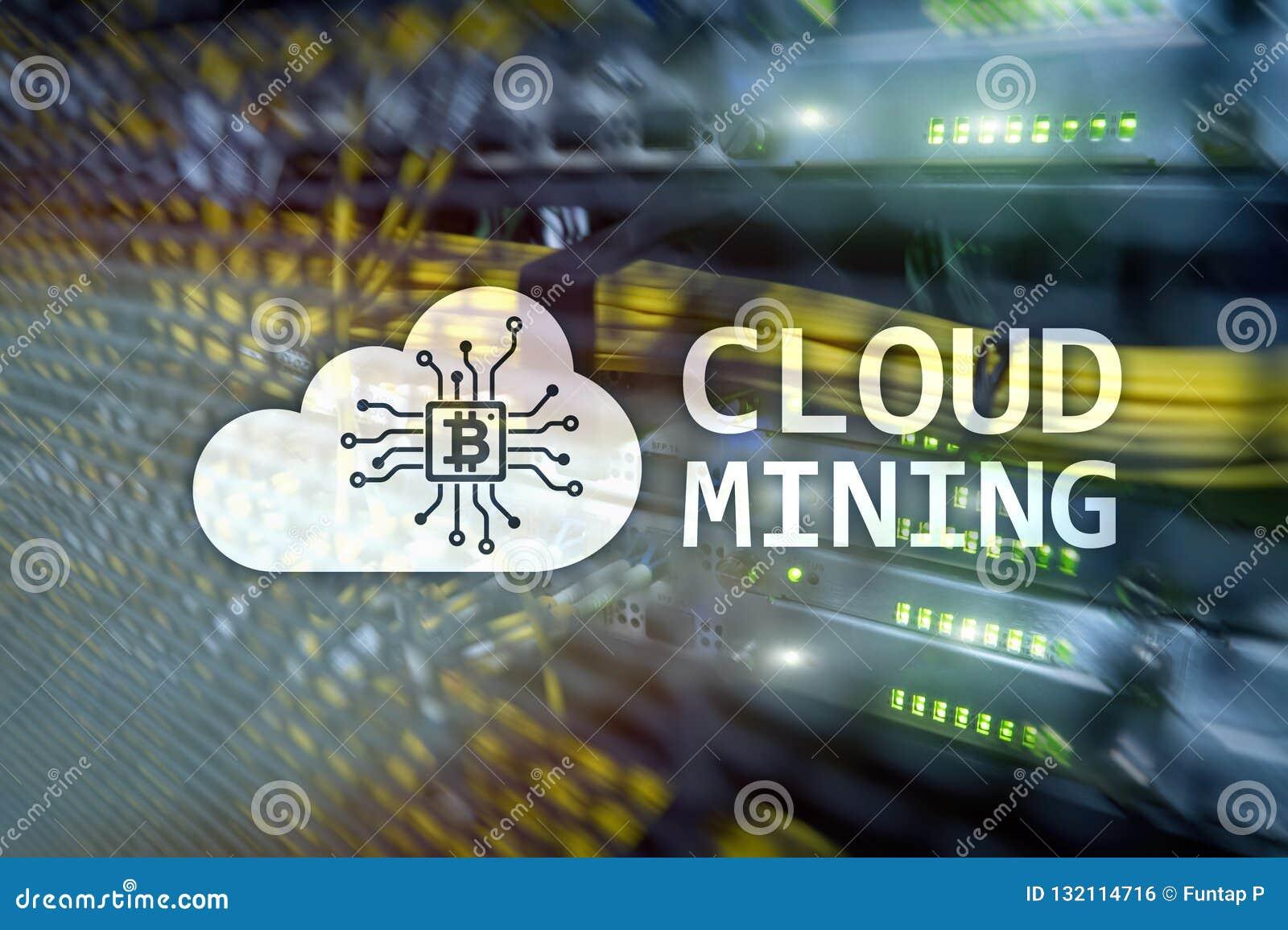 Wolk gegevensverwerking, gegevens of cryptocurrency ( Bitcoin, Ethereum) mijnbouw in gegevenscentrum Serverruimte backgroun
