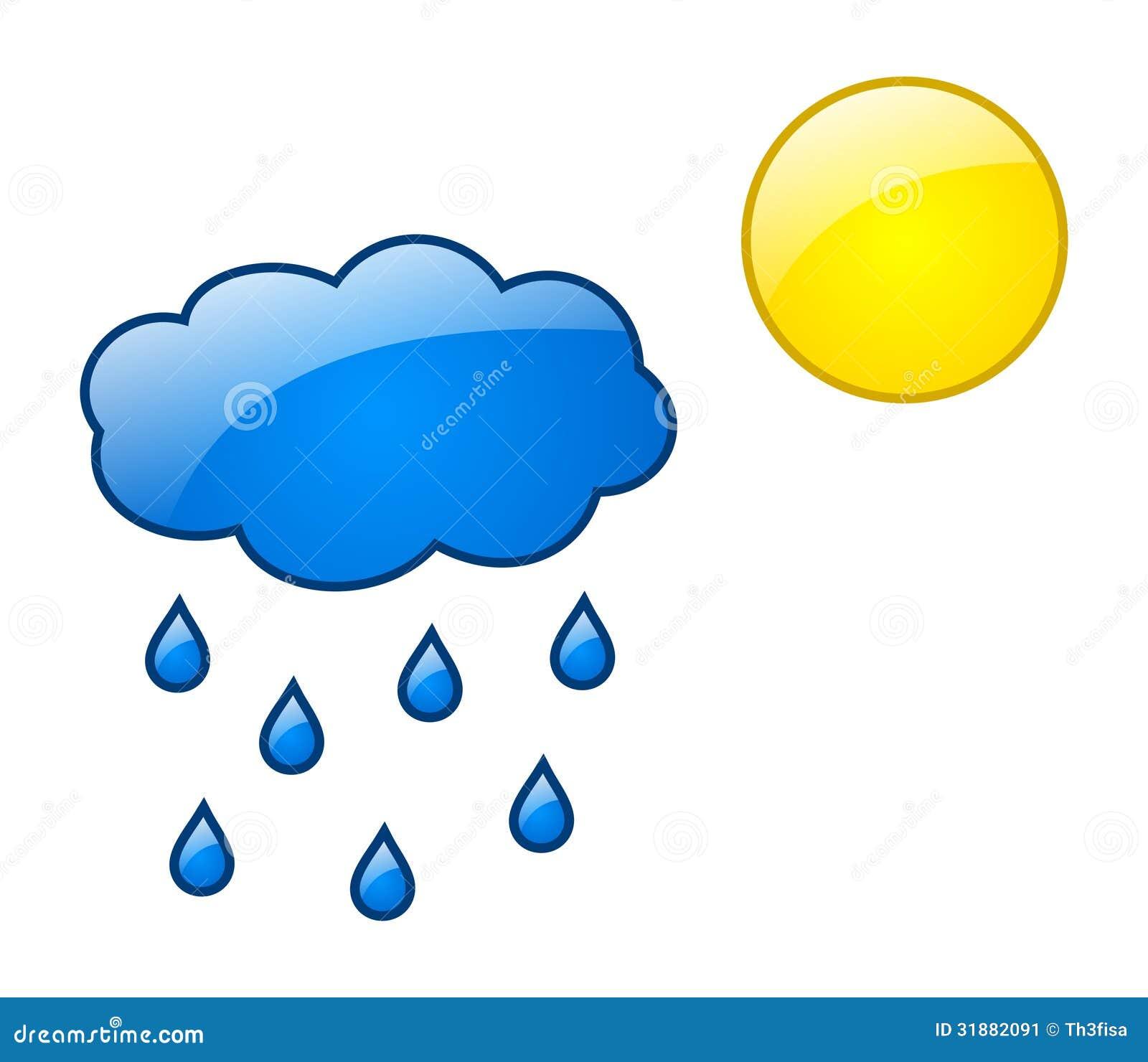 Wolk Met Regendruppels En Zon Met Glanzend Effect Stock
