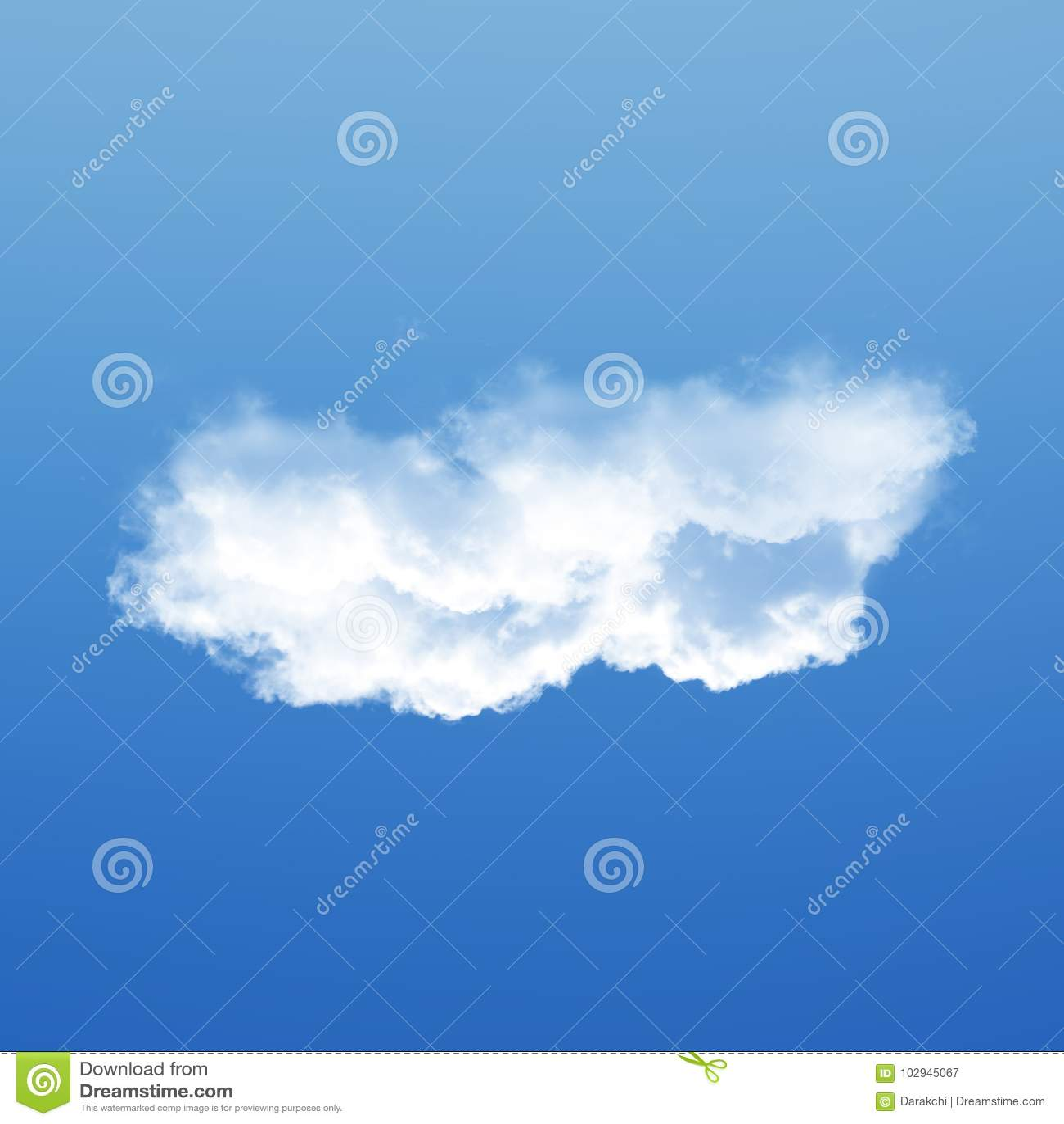 Wolk over blauwe hemel 3D enige die illustratie wordt geïsoleerd als achtergrond,