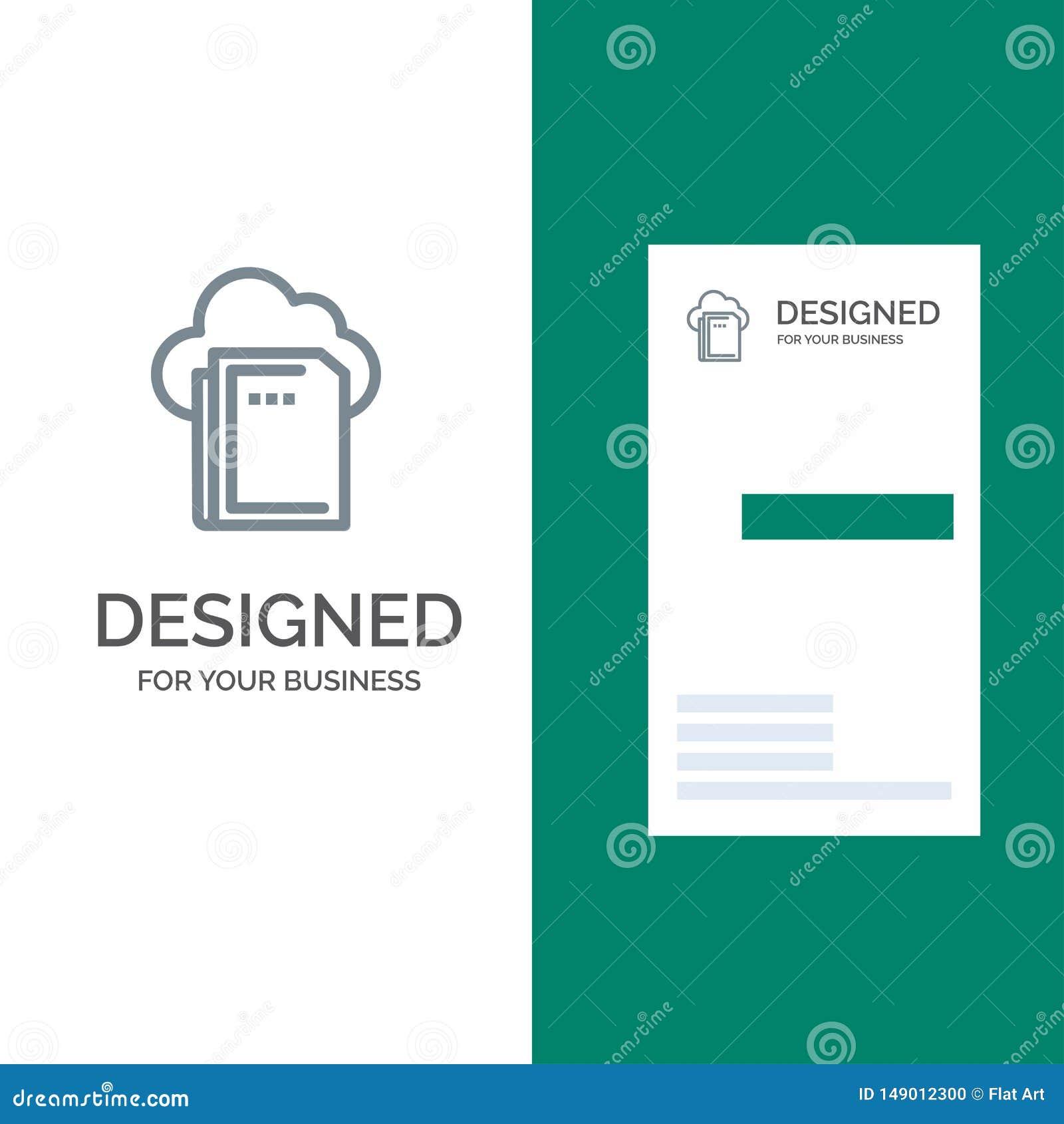 Wolke, Datei, Daten-, Datenverarbeitungs-Grey Logo Design und Visitenkarte-Schablone