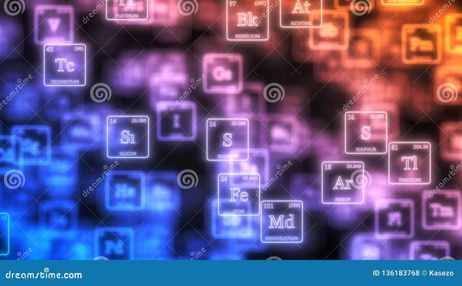 Wolke des periodischen Elementtabellenkonzeptes mit glühenden Neonlinien Abbildung 3D
