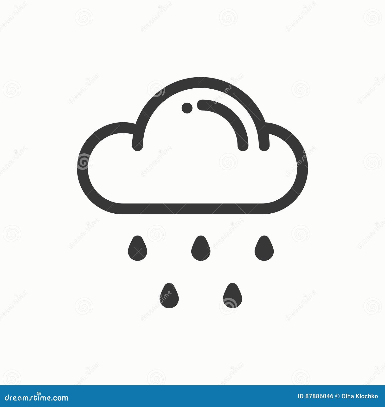 Wolke, Himmel, Regen, Zeichnen Einfache Ikone