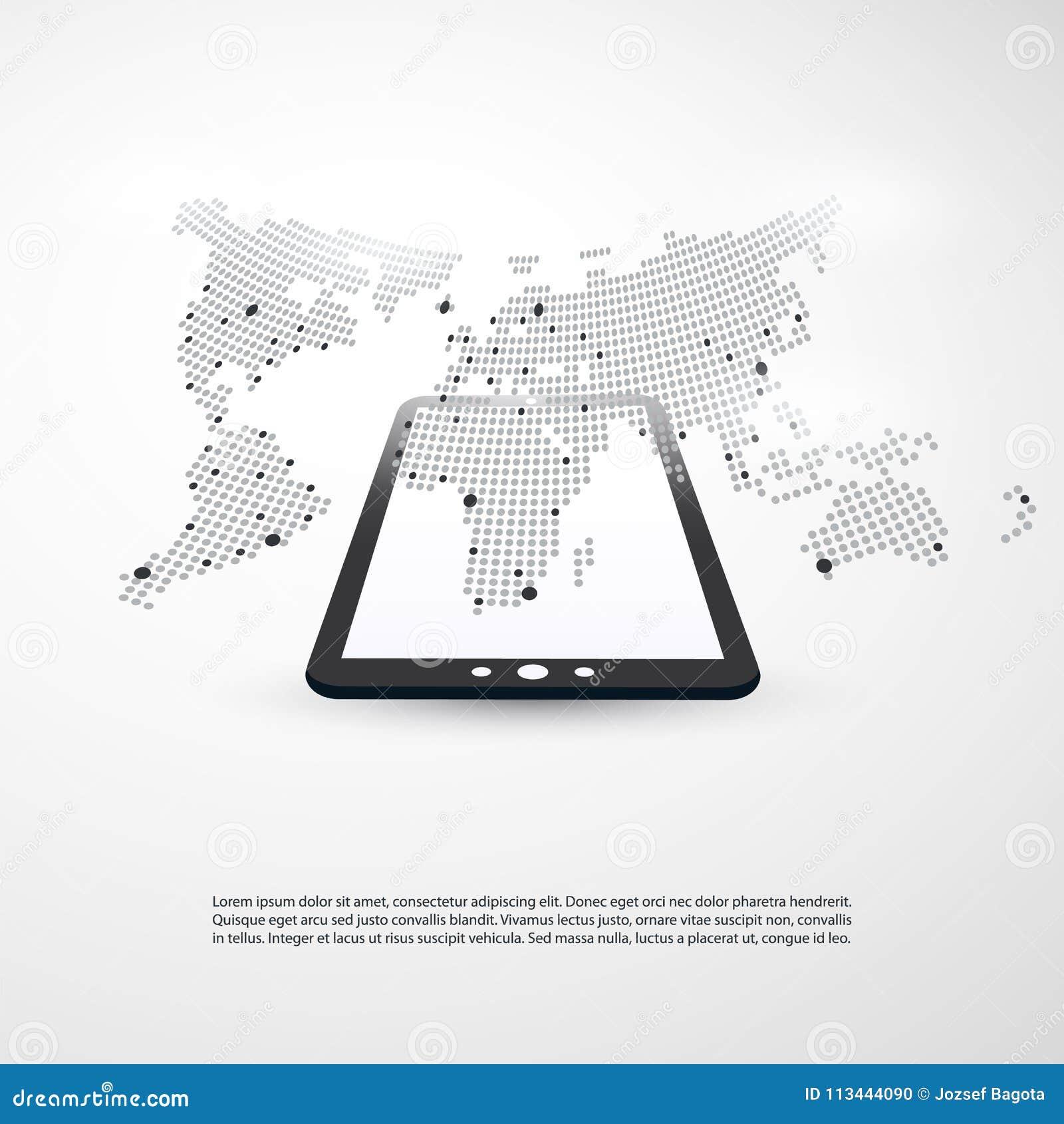 Wolken Datenverarbeitung Und Netz Konzept Mit Weltkarte