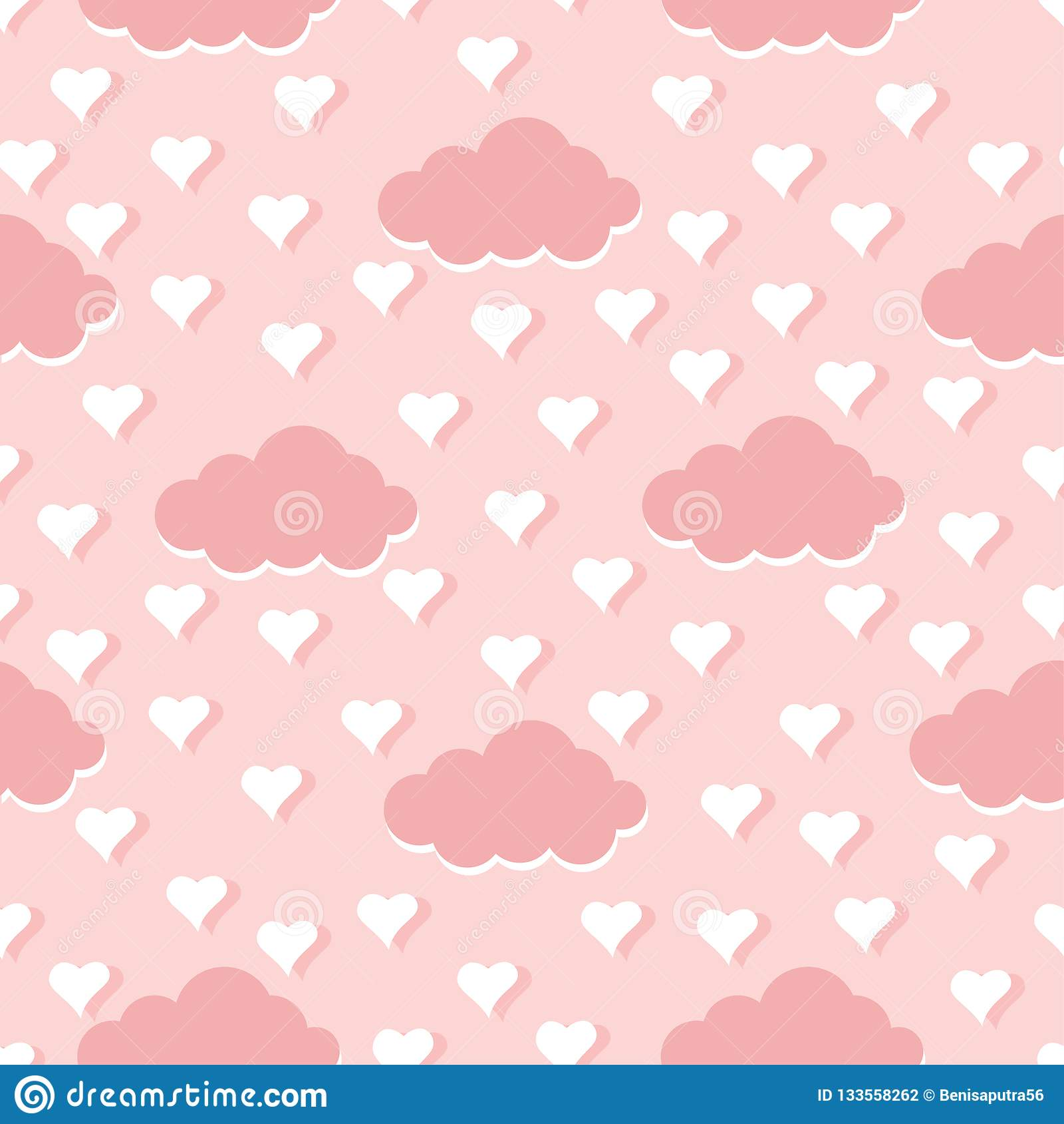 Wolken en harten naadloze patroon vectorillustratie als achtergrond
