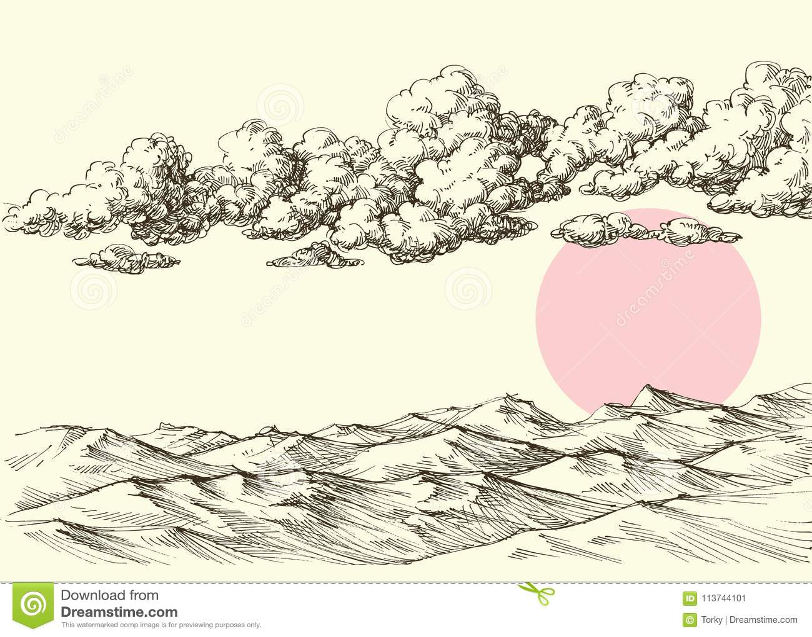 Wolken en zon over de duinen van het woestijnzand