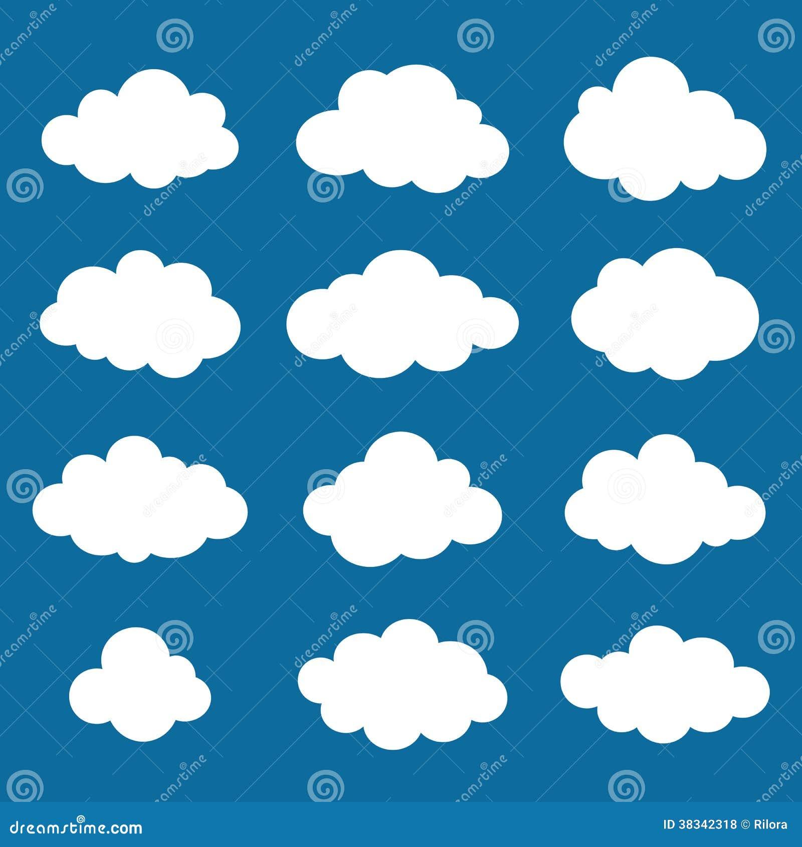 Wolkeninzameling. Het pak van wolkenvormen. Vector.