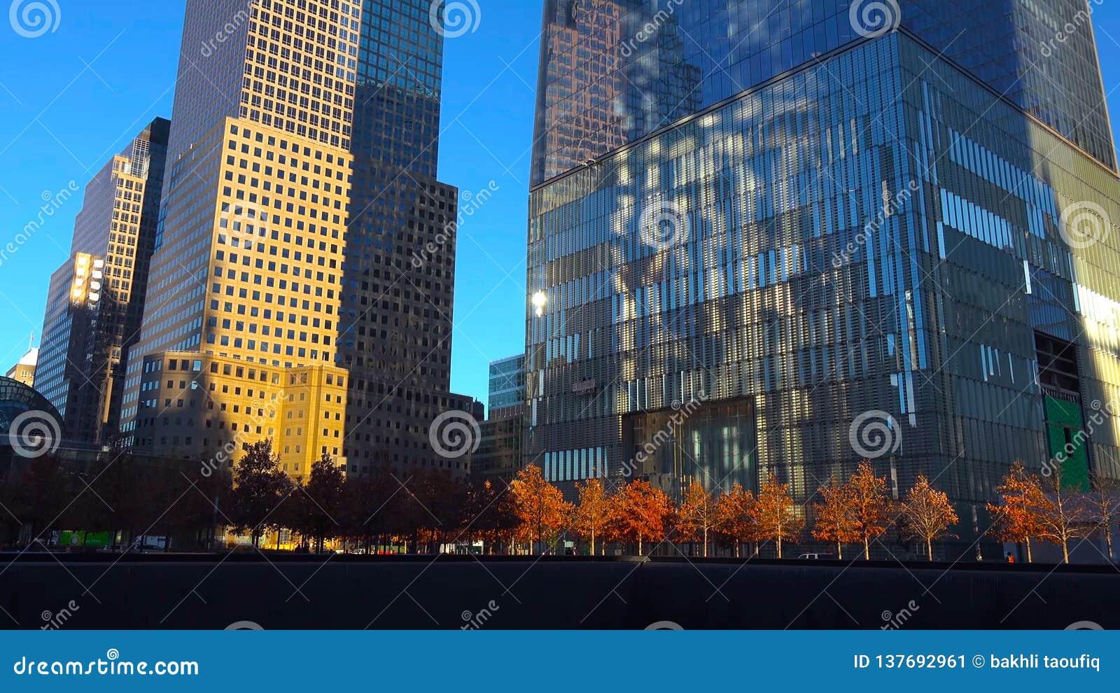 Wolkenkrabbers bij de Stad van nacht/New York - de V.S. Weergeven aan Lower Manhattan 18 December, 2018