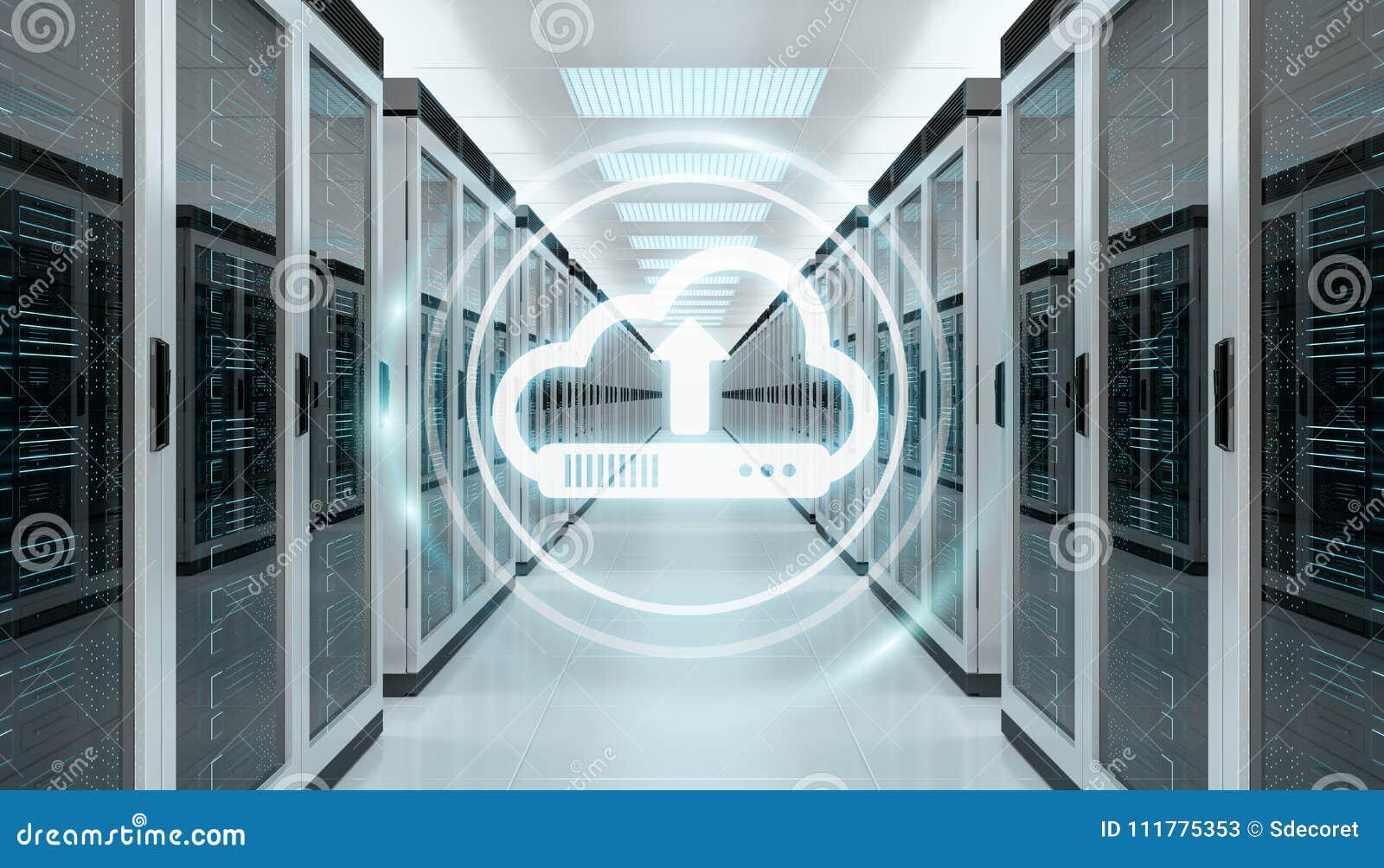 Wolkenpictogram die datas in het centrum van de serverruimte het 3D teruggeven downloaden