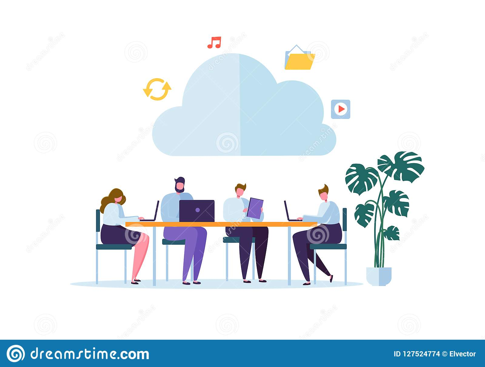 WolkenStorage Technology Mann und Frau, die Daten-arbeitet Informationsvermittlungs-Ordner zusammen, teilend