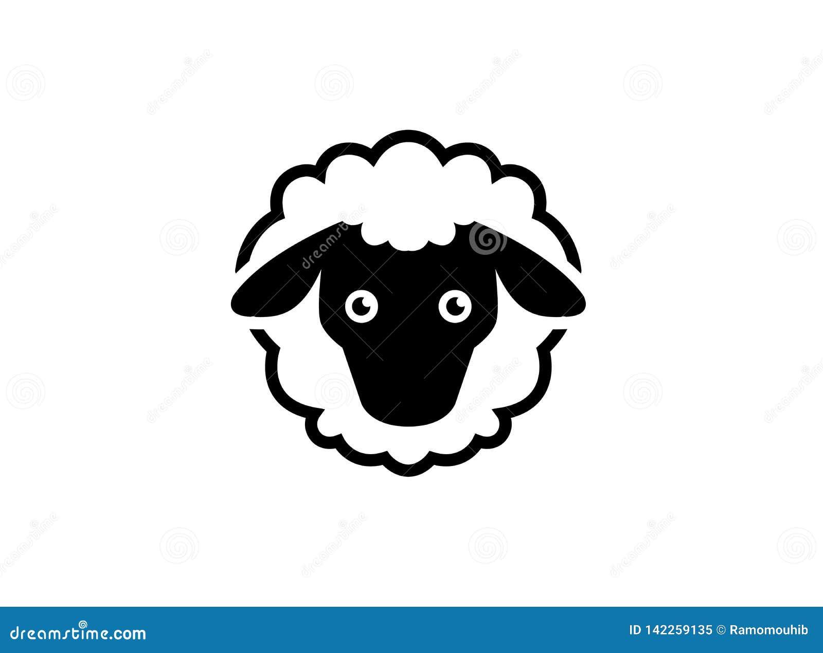 Wollige schapen met hoofd en staartembleem