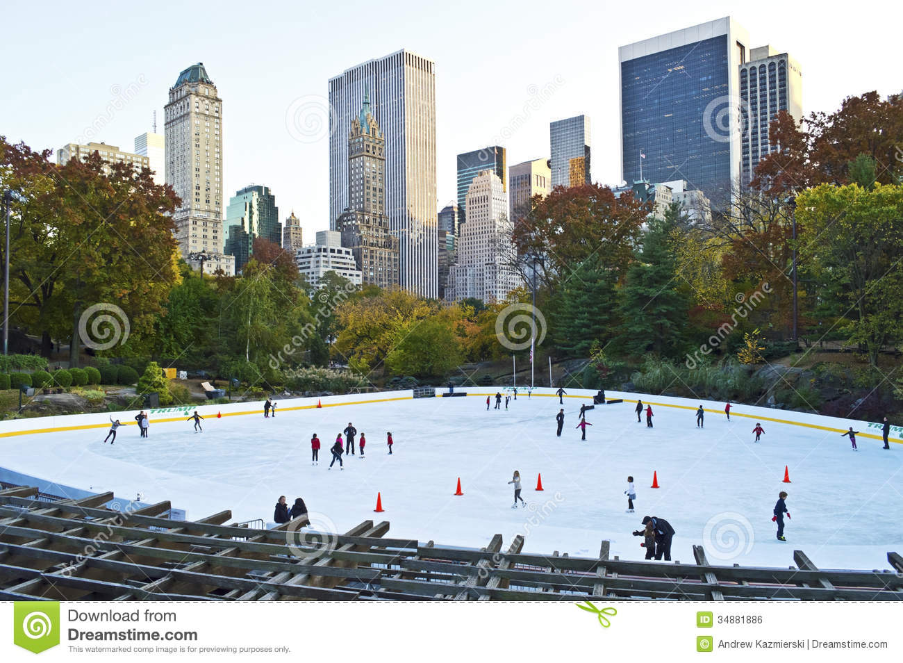 The Wollman Rink in Central Park with skating in late October.