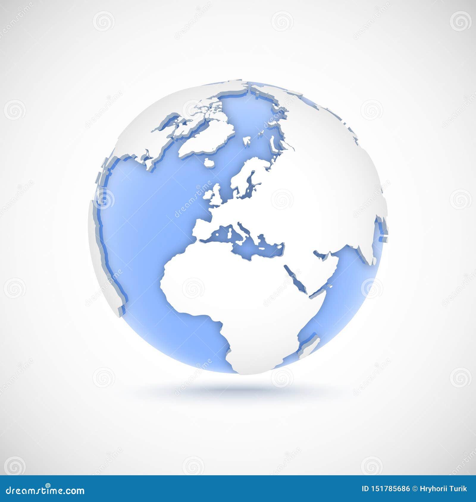 Wolumetryczna kula ziemska w białych i błękita kolorach 3d wektorowa ilustracja z kontynentami Ameryka, Europa, Afryka, Azja