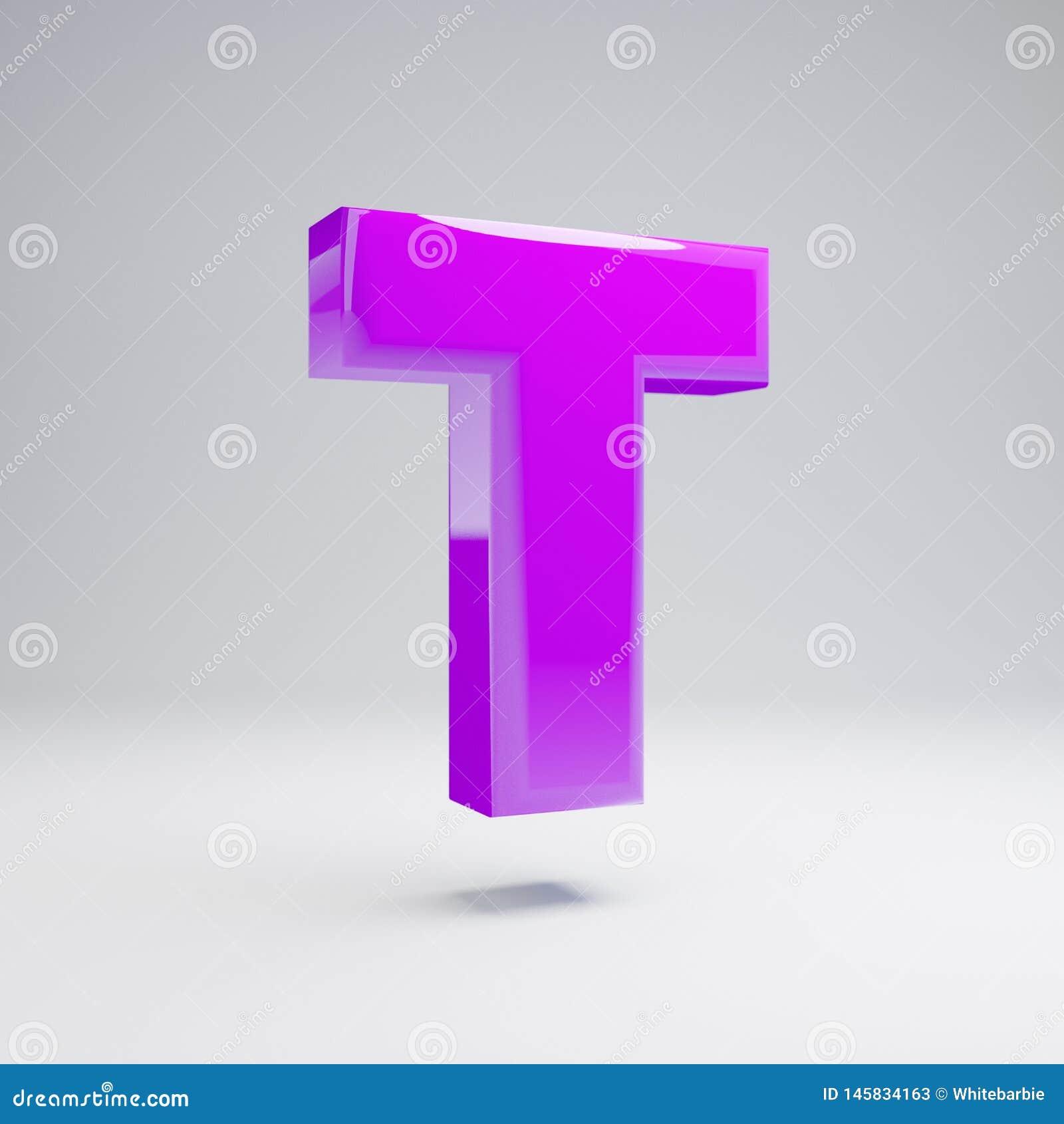 Wolumetryczny glansowany fiołkowy uppercase list T odizolowywający na białym tle