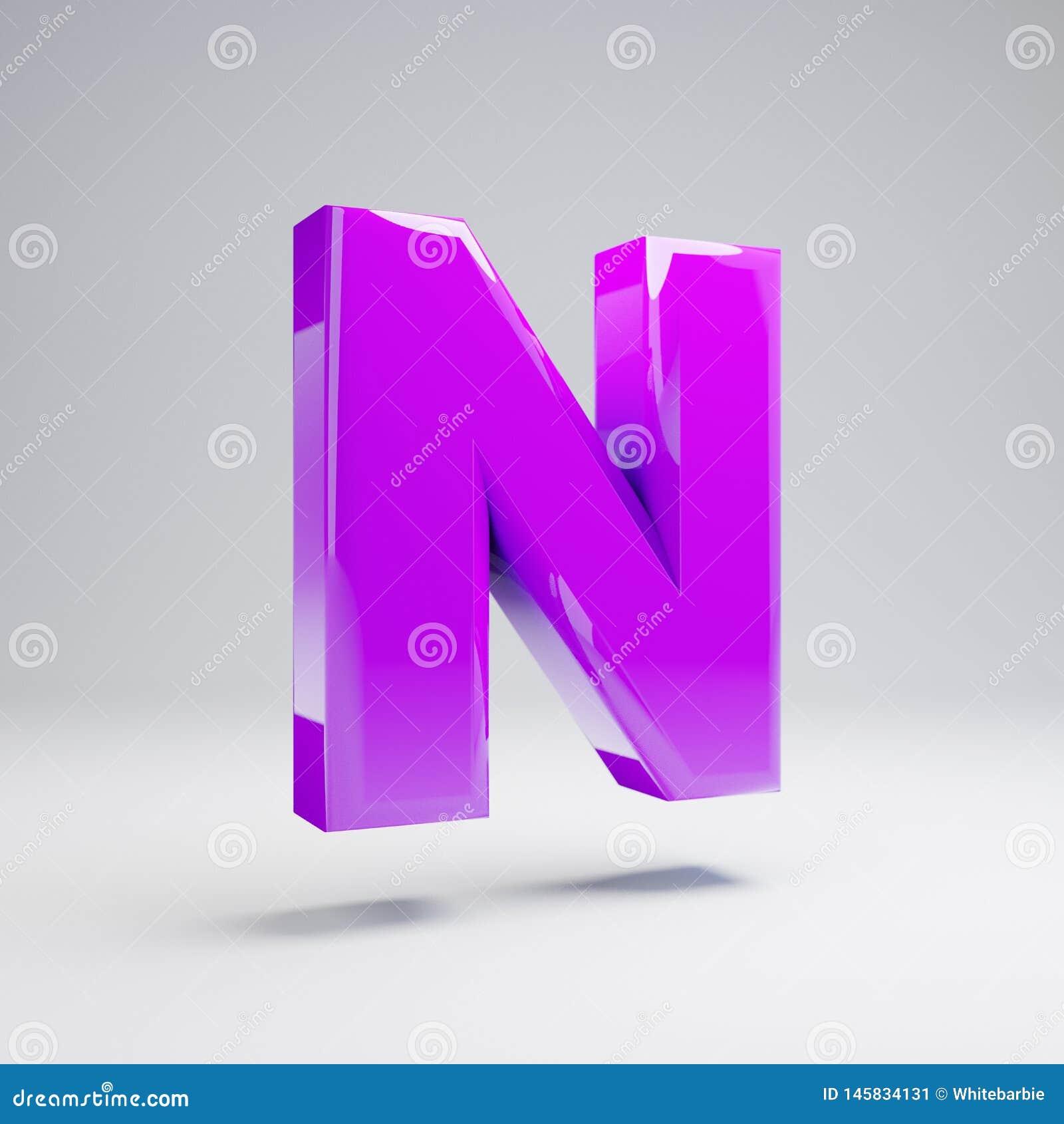 Wolumetryczny glansowany fiołkowy uppercase listowy N odizolowywający na białym tle