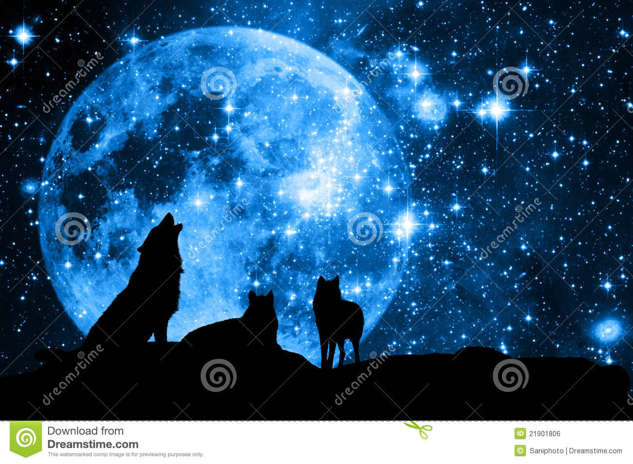 Wolves pack in silhouette against a blue starred sky with full moon.